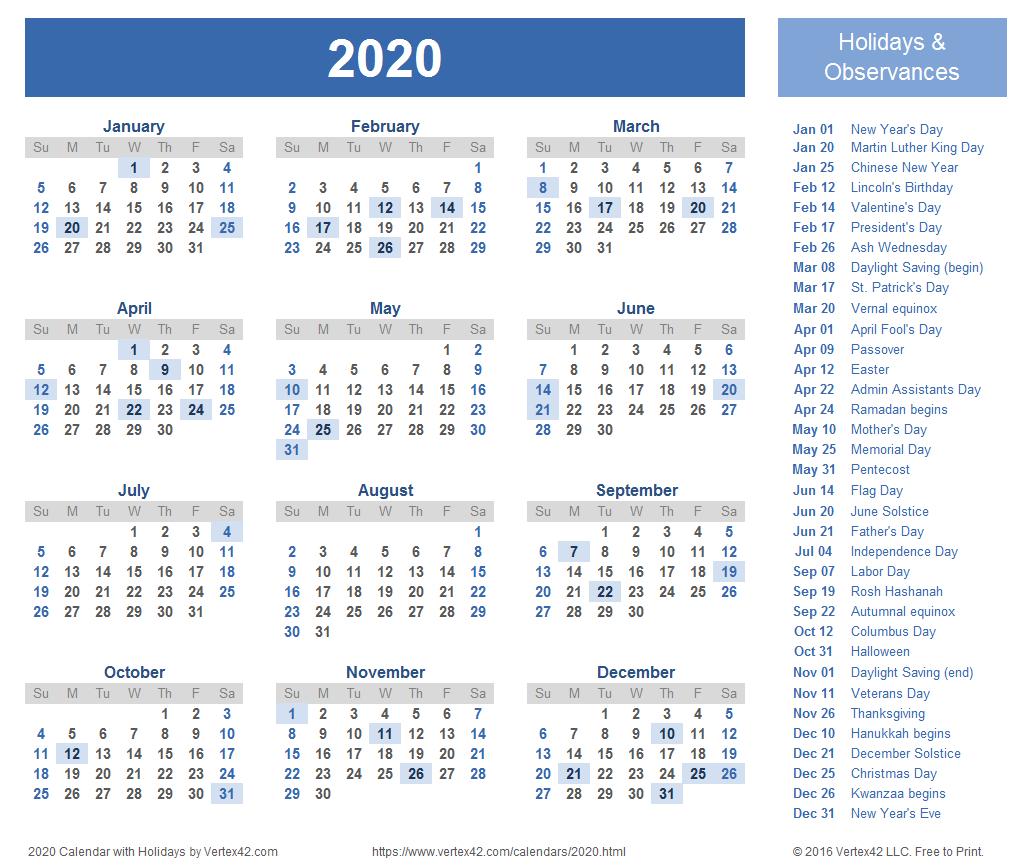 2020 Calendar Templates And Images for Pocket Printable 2019-2020 Calendar Free