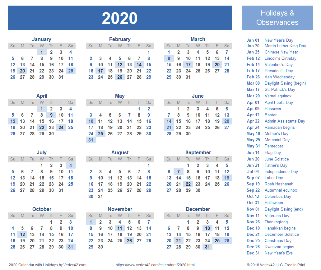2020 Calendar Templates And Images throughout 2020 Year At A Glance Free Printable Calendar