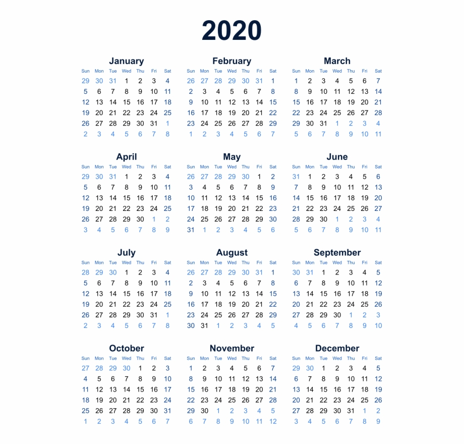 2020 Calendar Transparent Background Png - Year At A Glance Calendar in Year At A Glance 2019-2020