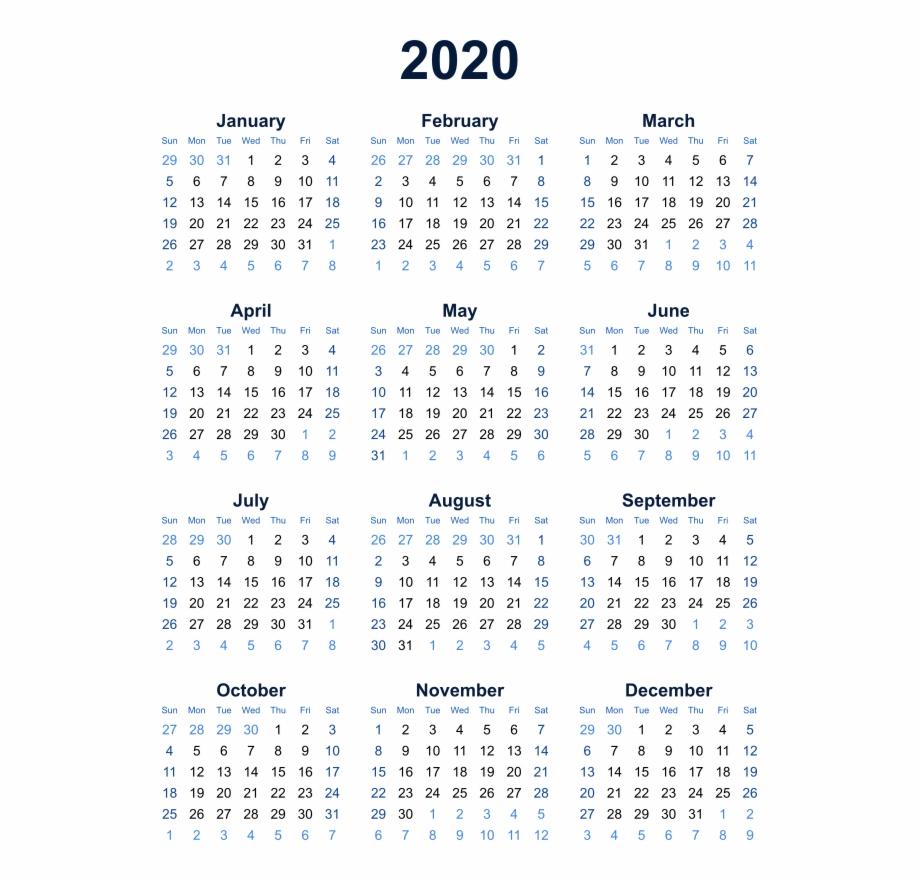 2020 Calendar Transparent Background Png - Year At A Glance Calendar intended for Calendar 2019 2020 Free Download
