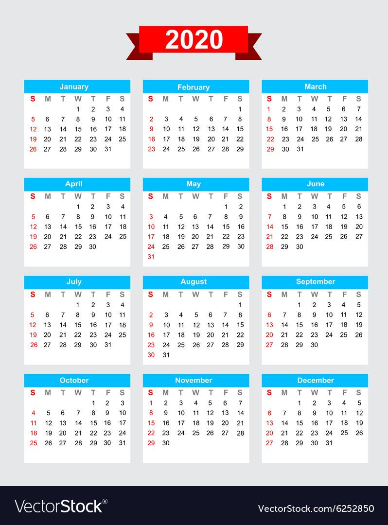 2020 Calendar Week Start Sunday for 2020 Calendar Starting On Monday