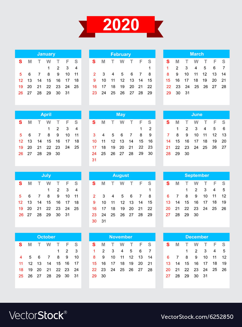 2020 Calendar Week Start Sunday Royalty Free Vector Image pertaining to 2020 Calendar Starting With Monday