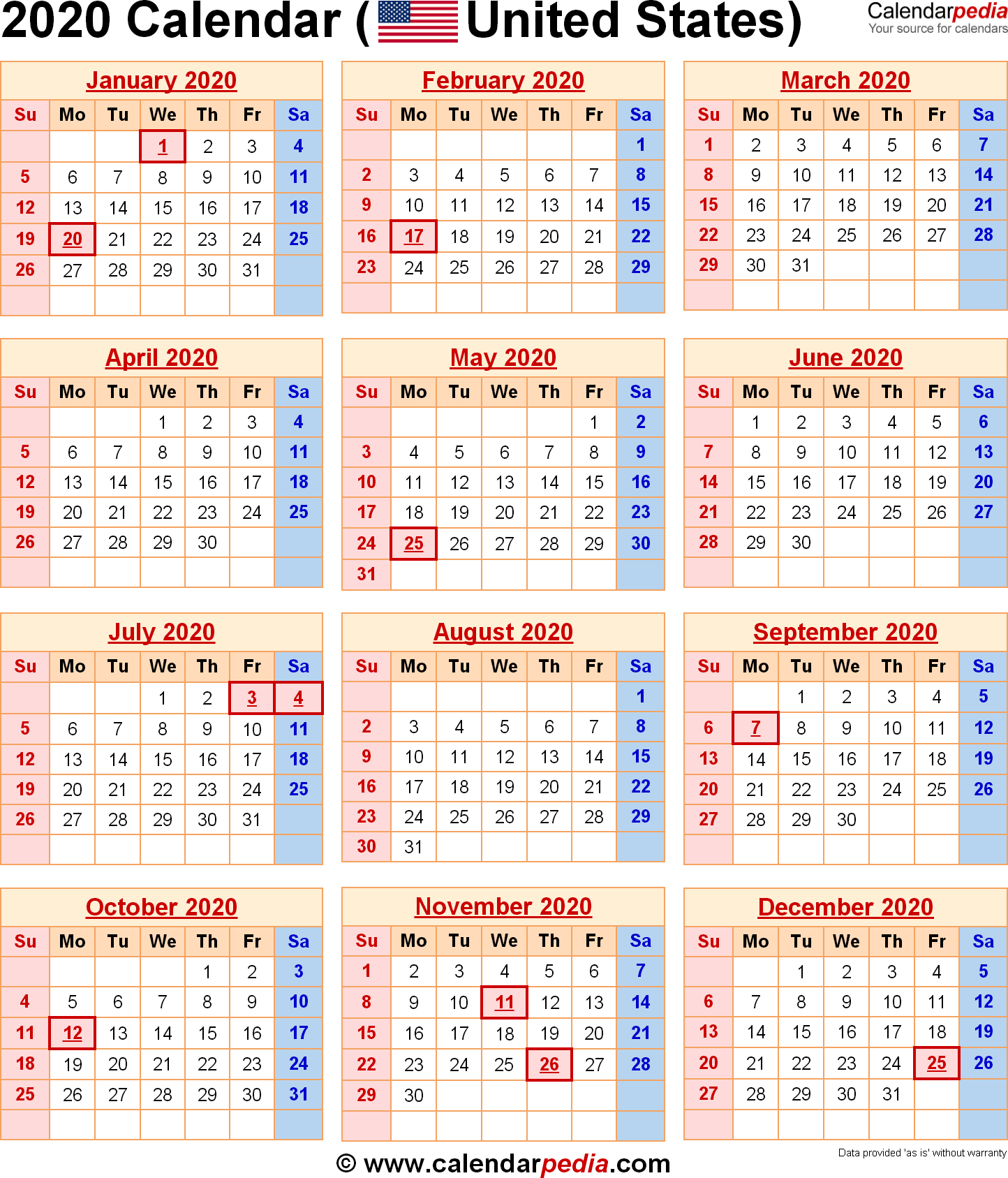 2020 Calendar With Federal Holidays & Excel/pdf/word Templates intended for National Day Calendar 2020 Printable