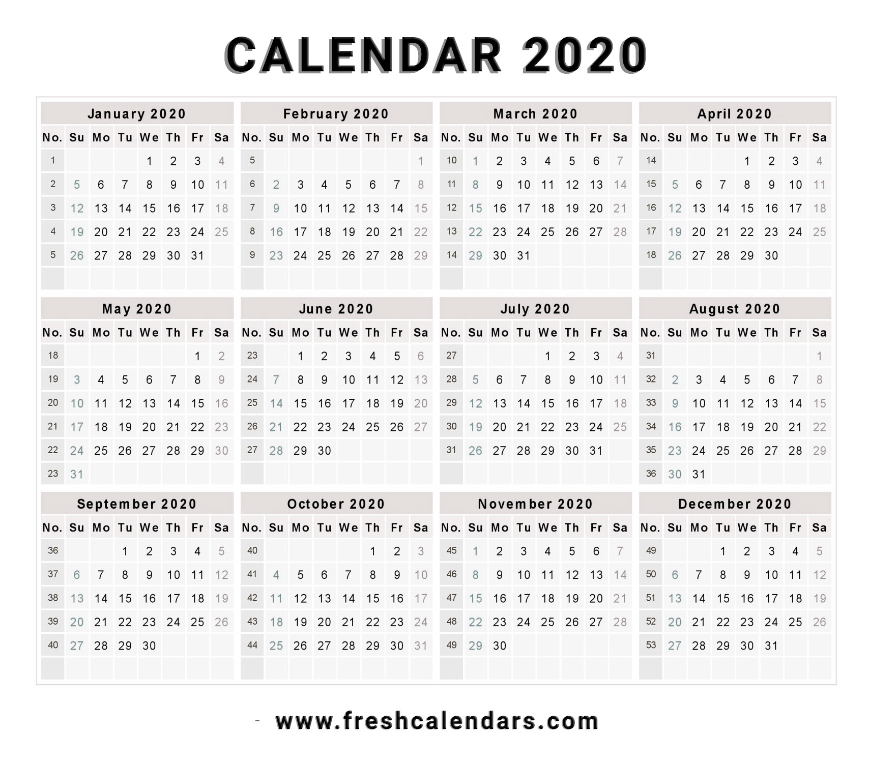 2020 Calendar with Free Calendar 2020 Printable Without Download