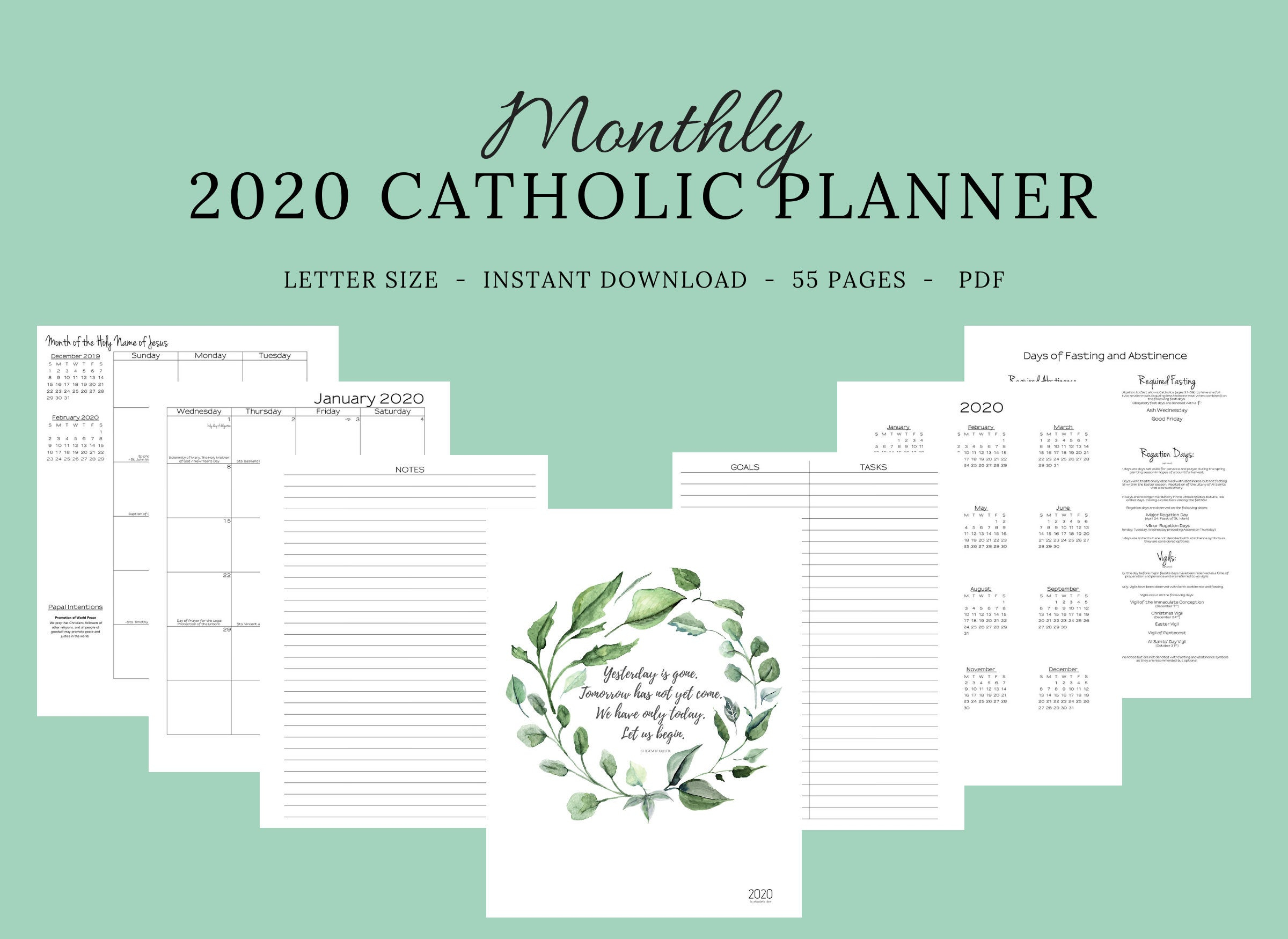 2020 Catholic Planner Monthly Printable: Monthly Planner / Catholic  Liturgical Year Calendar / Printable Catholic Planner / Catholic Woman in Catholic Liturgical Calendar Year C 2019-2020