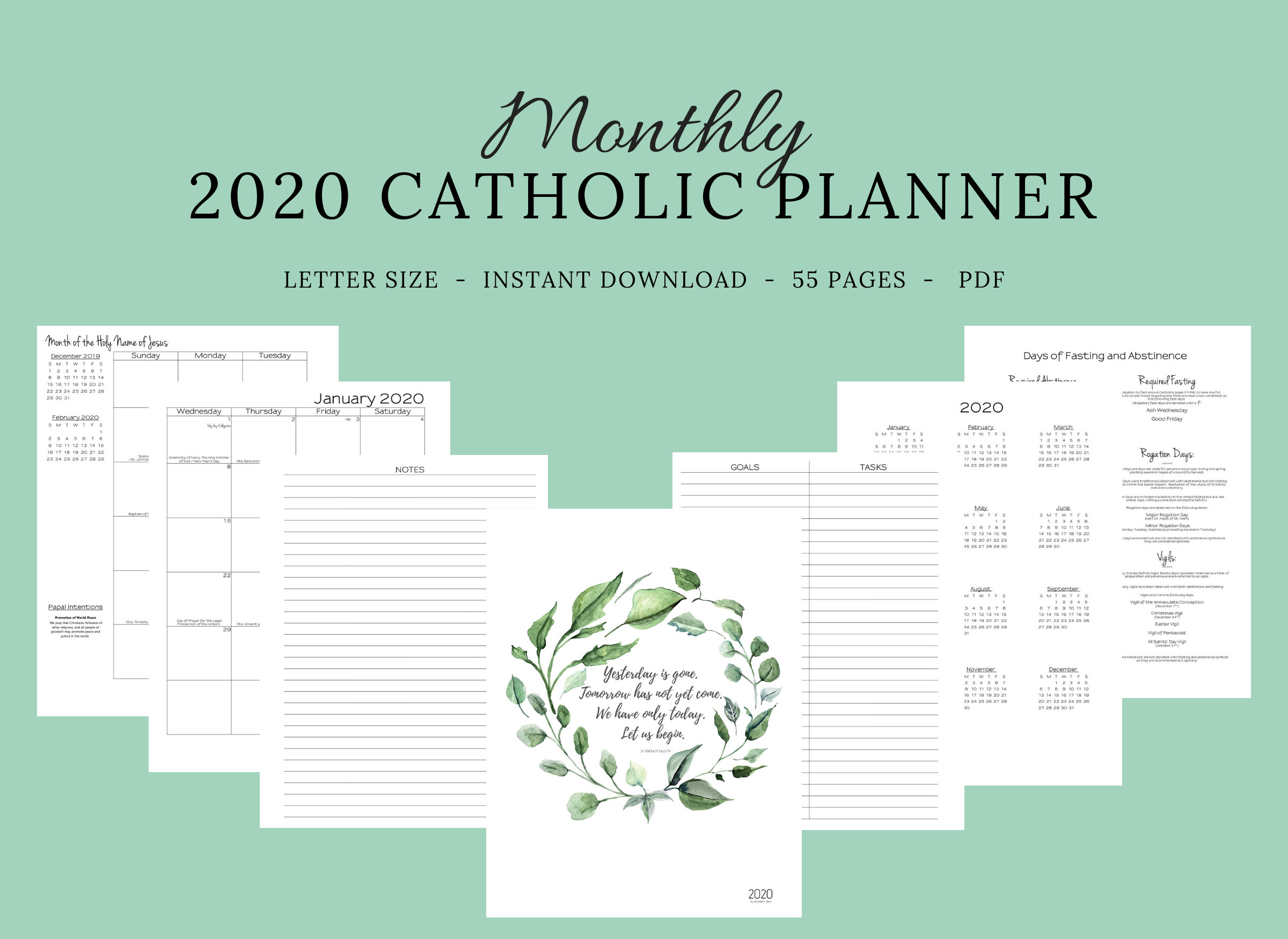 2020 Catholic Planner Monthly Printable: Monthly Planner / | Etsy with regard to Free Catholic Liturgical Calendar For 2020