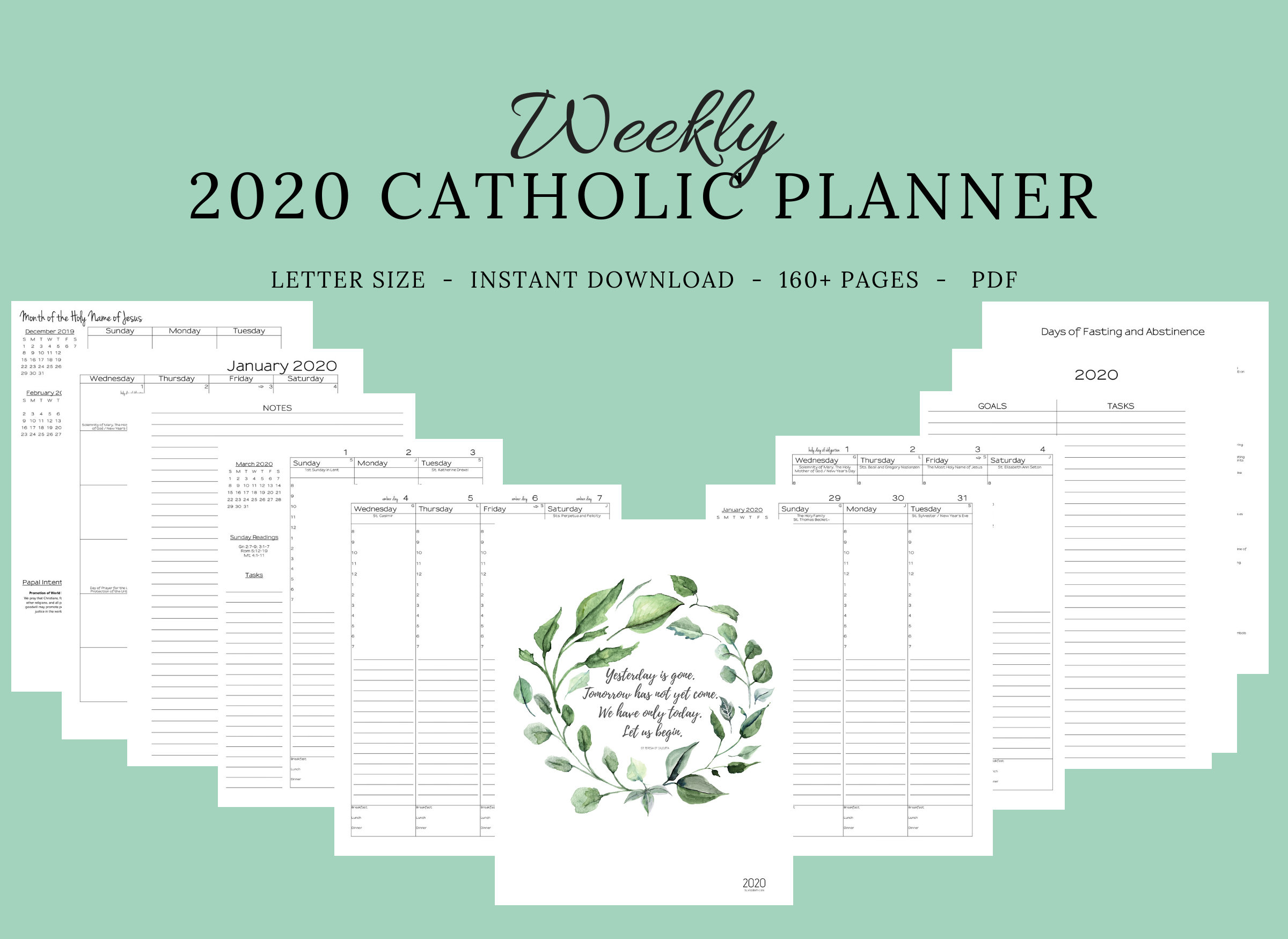 2020 Catholic Planner Weekly Printable: Daily Planner / | Etsy within Free Catholic Liturgical Calendar For 2020