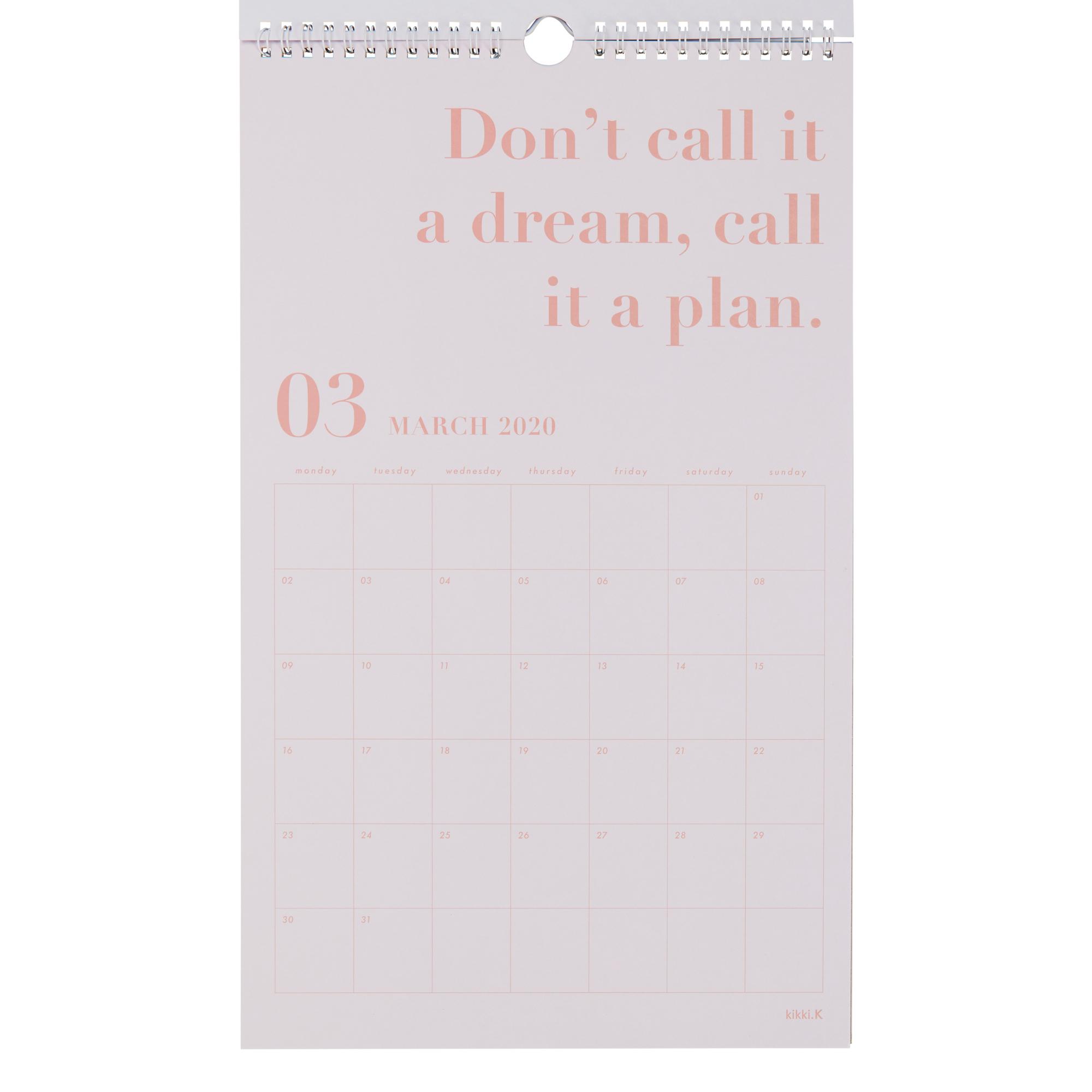 2020 Dream Life Wall Calendar White: Inspiration | Calendars | Kikki intended for 2020 Wall Calendar Kikki K