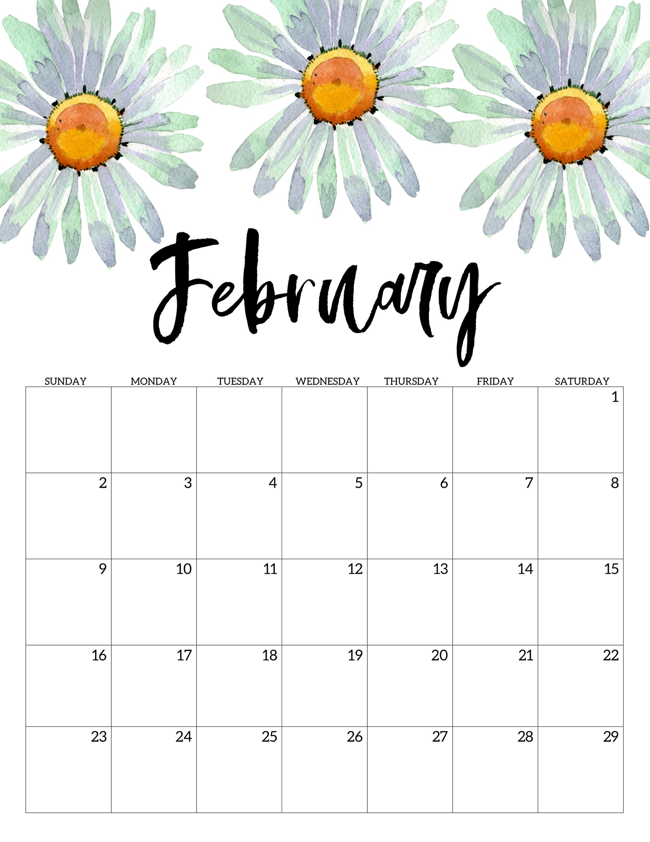 2020 Free Printable Calendar - Floral - Paper Trail Design pertaining to 2019 2020 Girly Calendar Printable