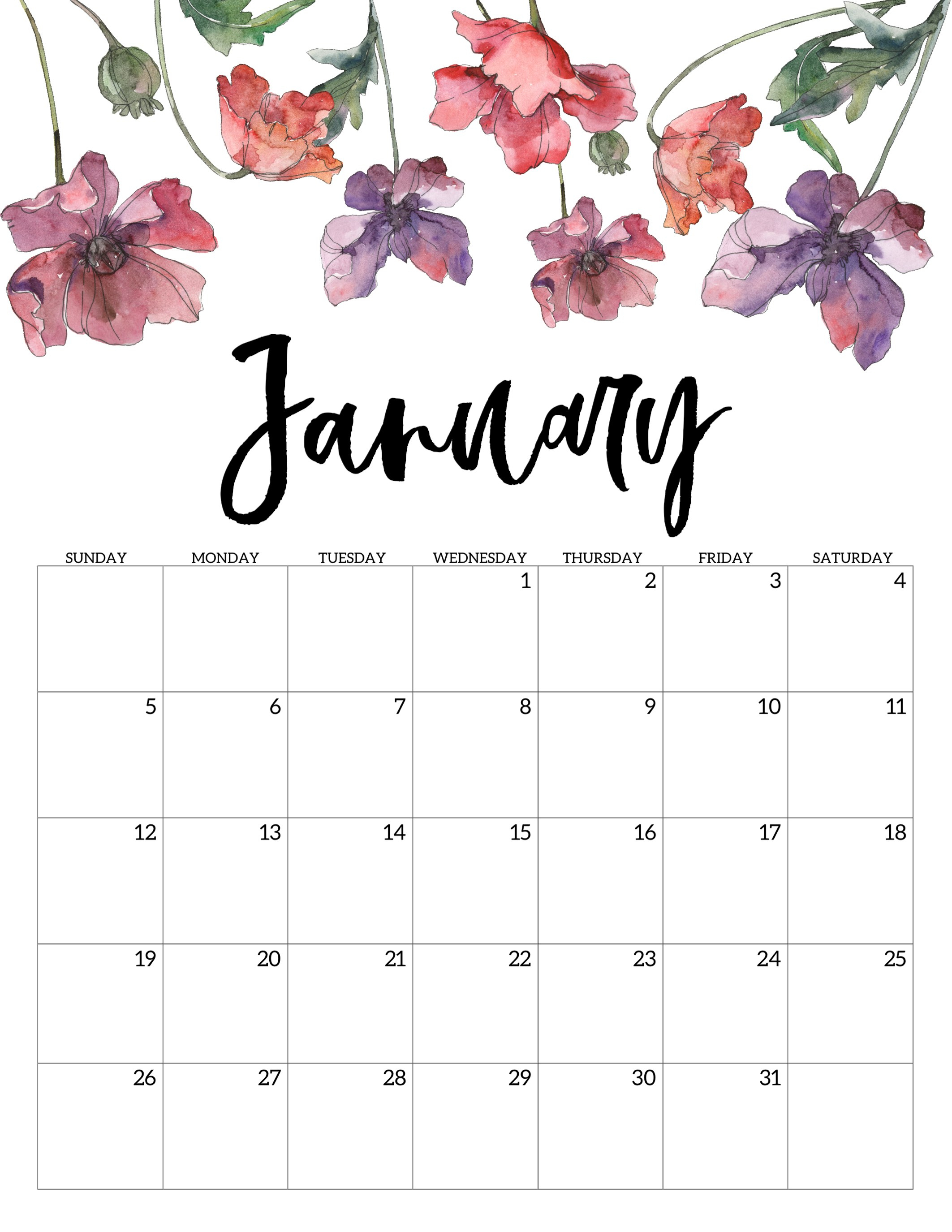 2020 Free Printable Calendar - Floral - Paper Trail Design throughout Blank Calendar Months For Year 2019-2020 Girly