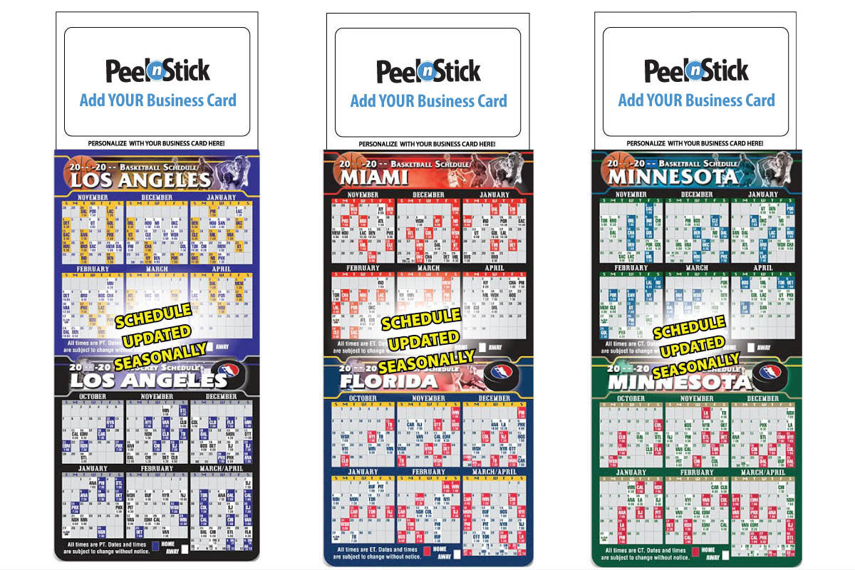 2020 Magnetic Business Card Pro Basketball & Hockey Combo Schedule intended for Football Theme Blank Dates Calendar