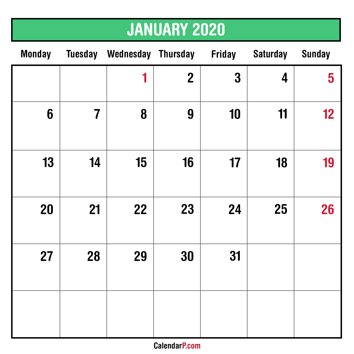 2020 Monthly Planner Printable Free – Sunday Start, Green for Printable 2020 Monthly Calendars Starting With Monday