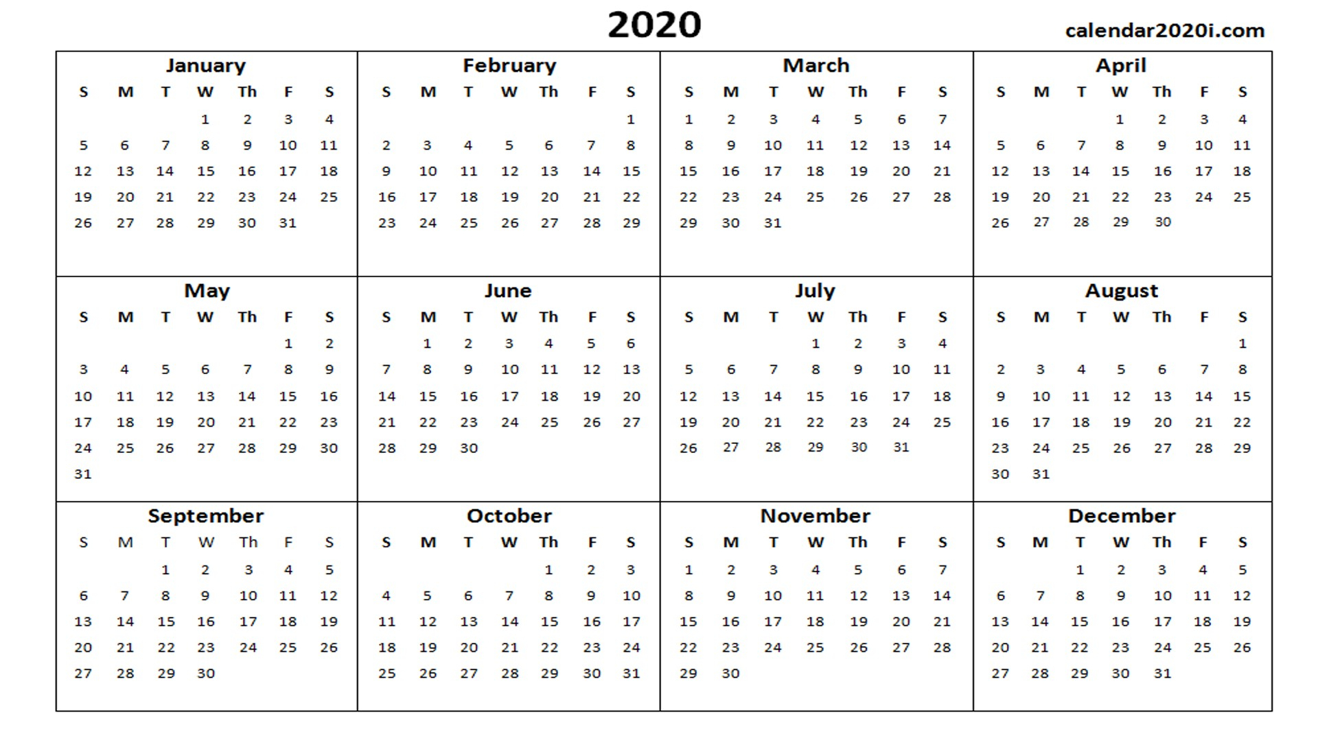 2020 Printable Calendar Template 2020 Calendar Printable Template within Word Calendar Template Excel