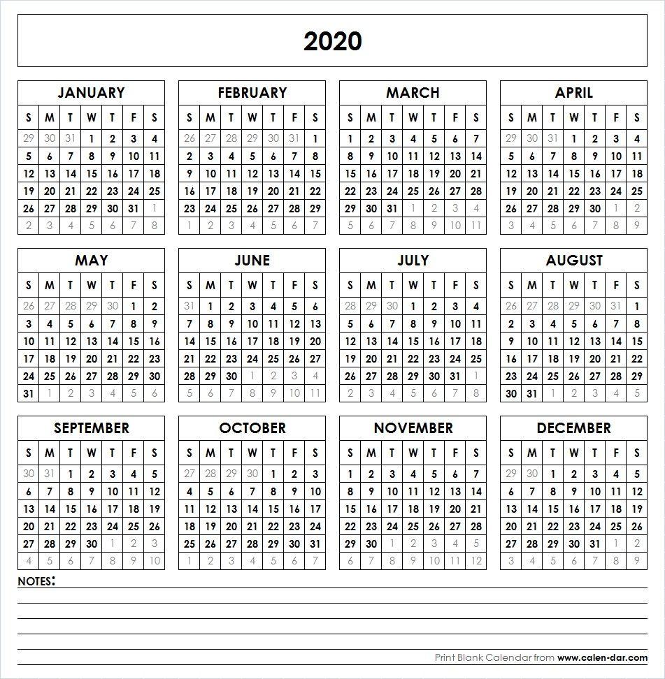 2020 Printable Calendar | Yearly Calendar | Yearly Calendar inside 2020 Year At A Glance Free Printable Calendar