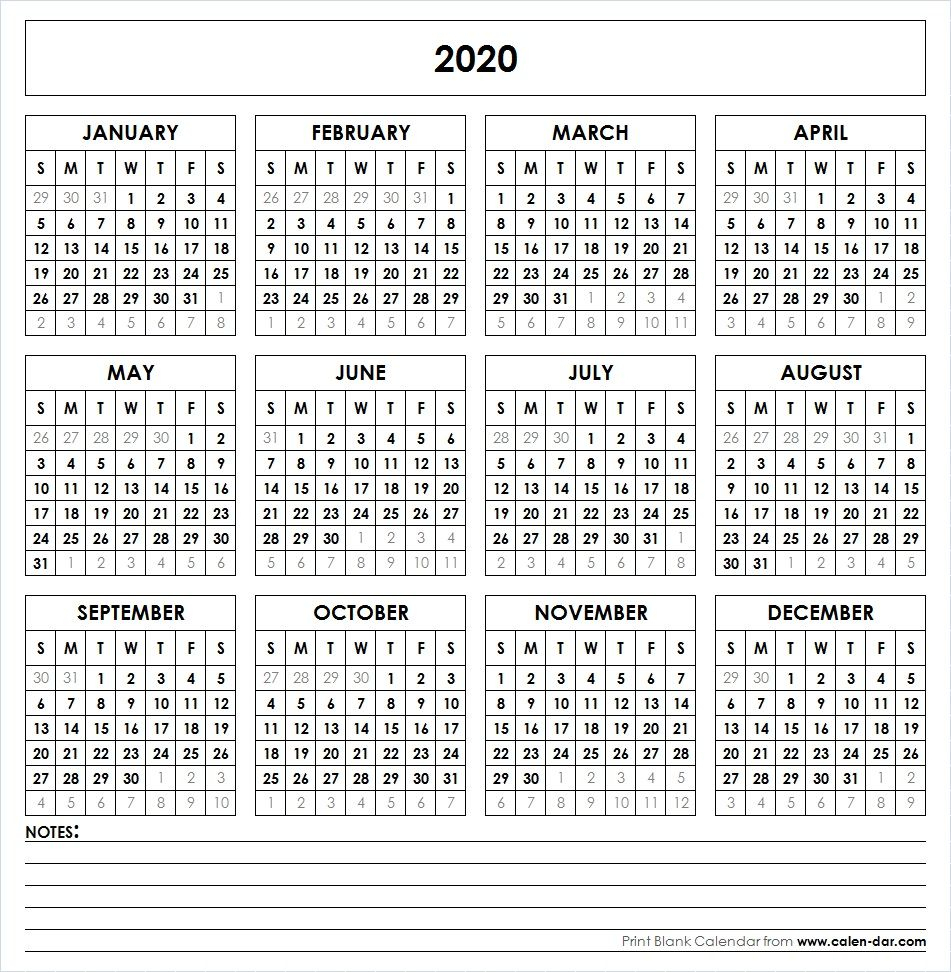 2020 Printable Calendar | Yearly Calendar | Yearly Calendar intended for Yearly Calendar 2020 With Boxes
