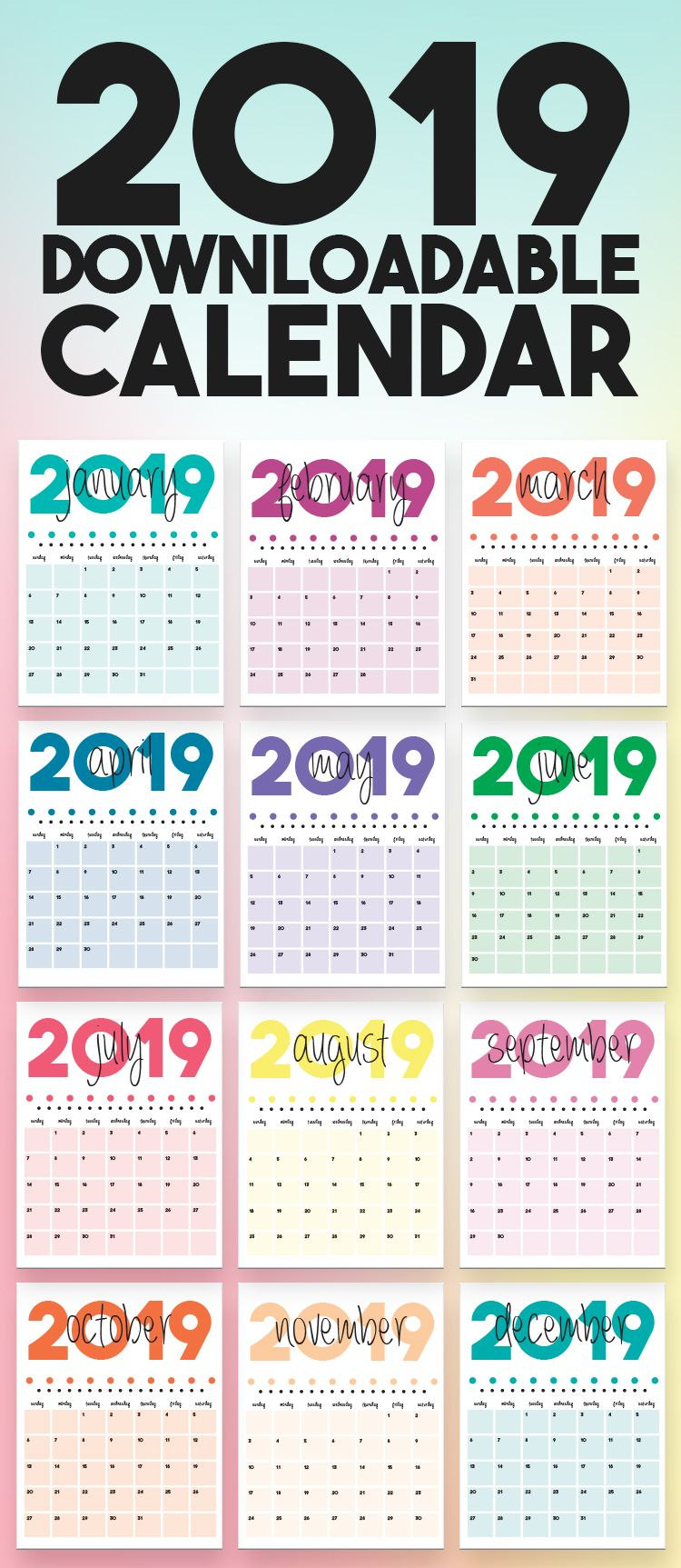 2020 Printable Calendars And Planners | Emerald And Mint Designs in 8.5 X 11 Calander Filler For 2020