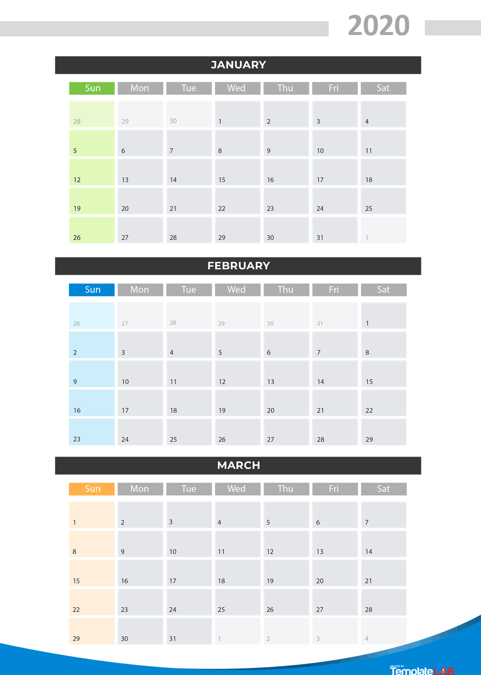 2020 Printable Calendars [Monthly, With Holidays, Yearly] ᐅ for 2020 Quarterly Calendar Printable Free