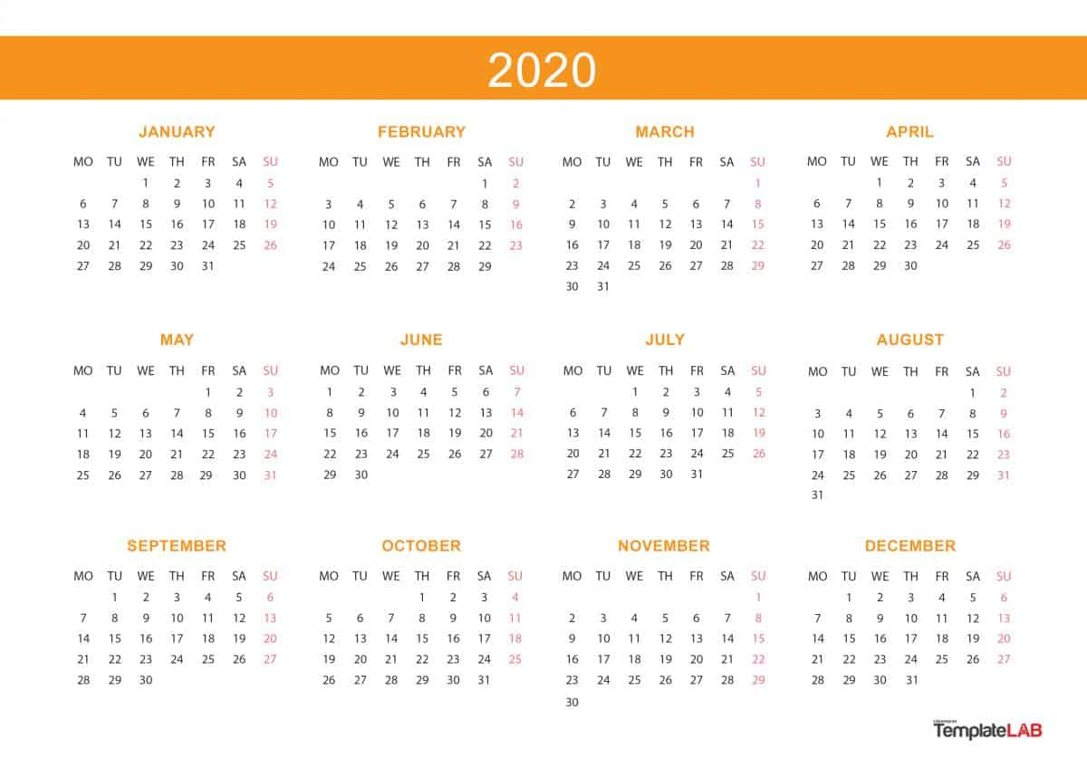 2020 Printable Calendars [Monthly, With Holidays, Yearly] ᐅ intended for Yearly Calendar 2020 With Boxes