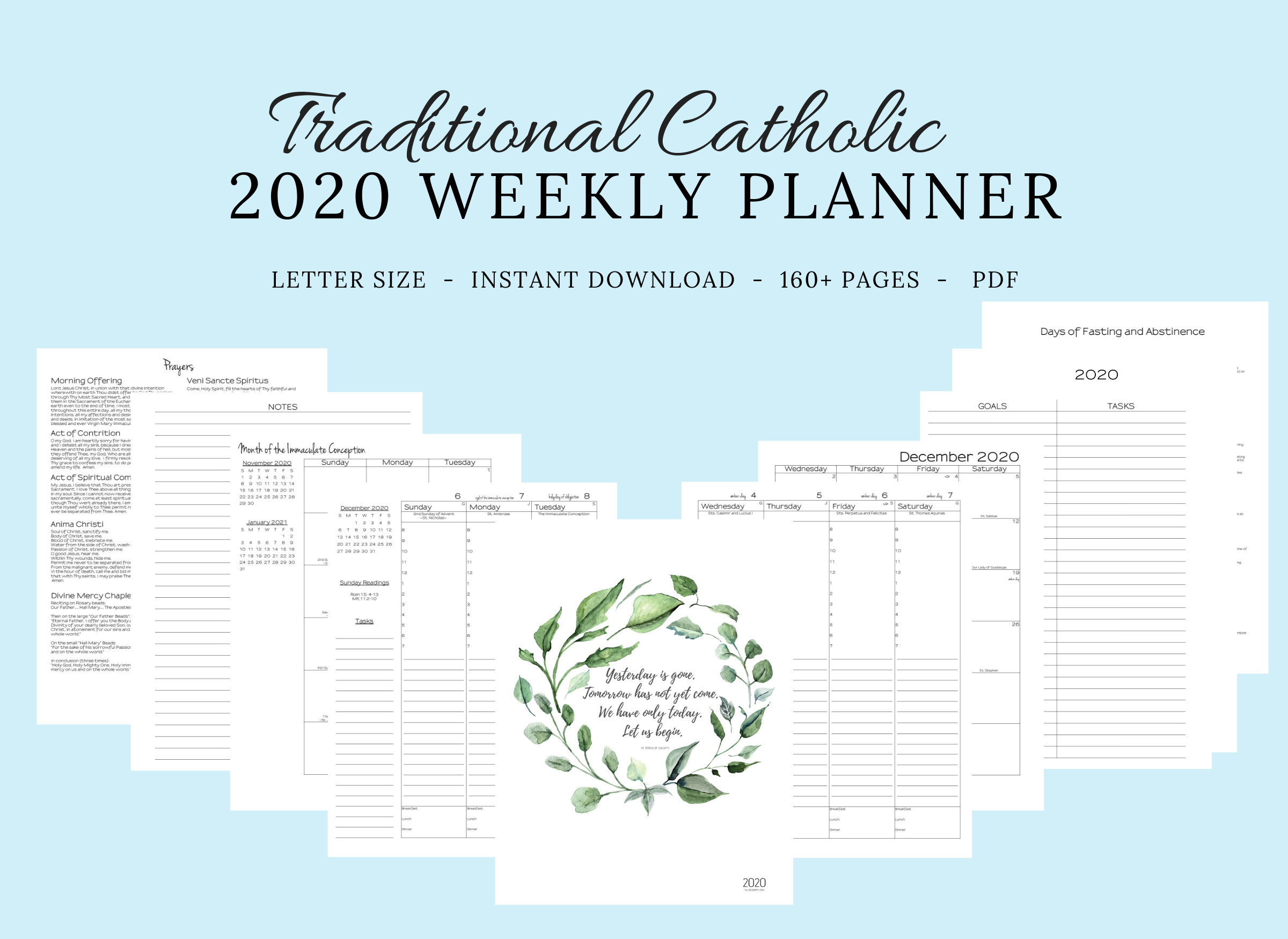 2020 Traditional Latin Catholic Planner Weekly Printable: | Etsy with regard to Free Catholic Liturgical Calendar For 2020