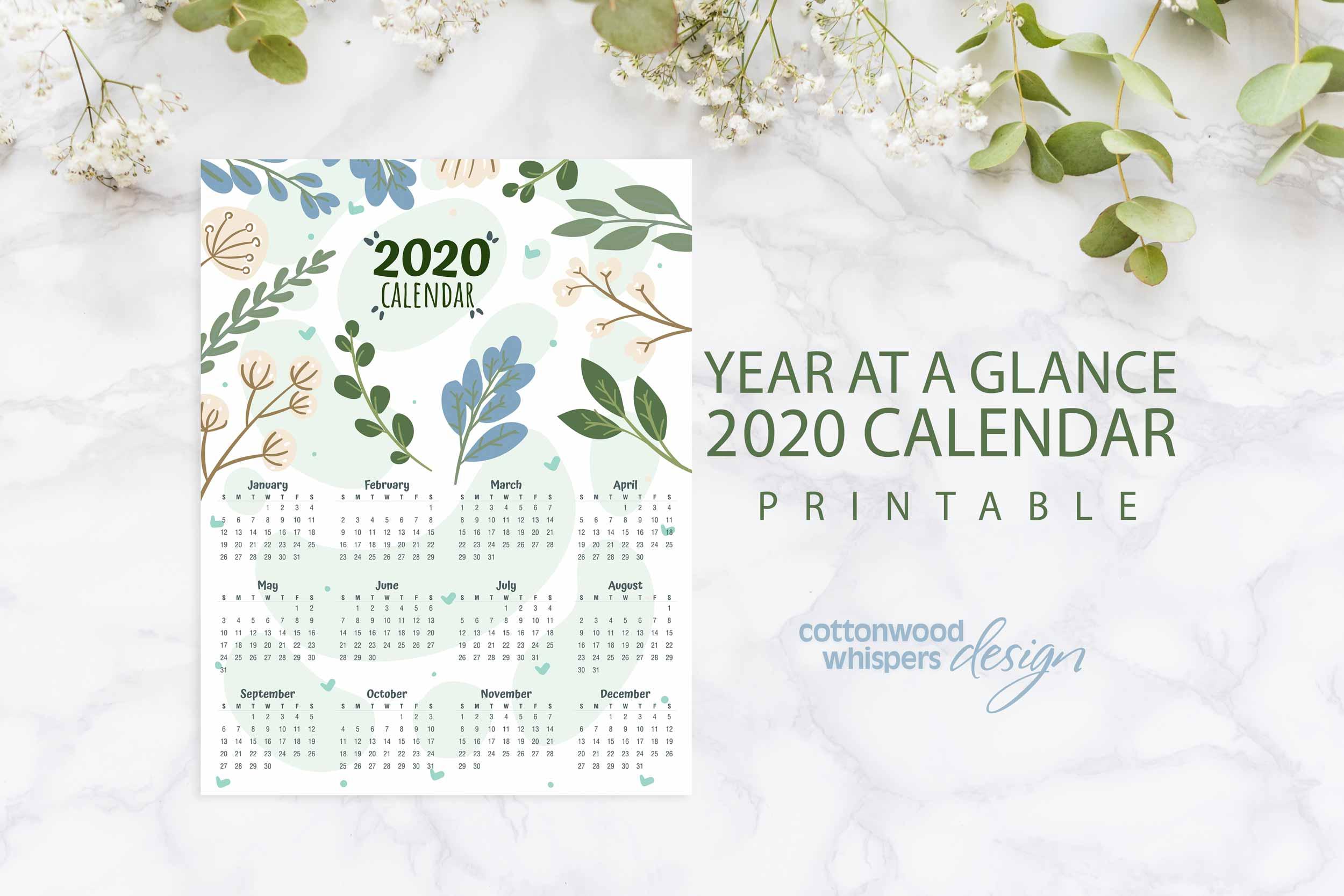 2020 Year At A Glance Calendar | Blue & Green in 2020 Calendar 8.5 X 11