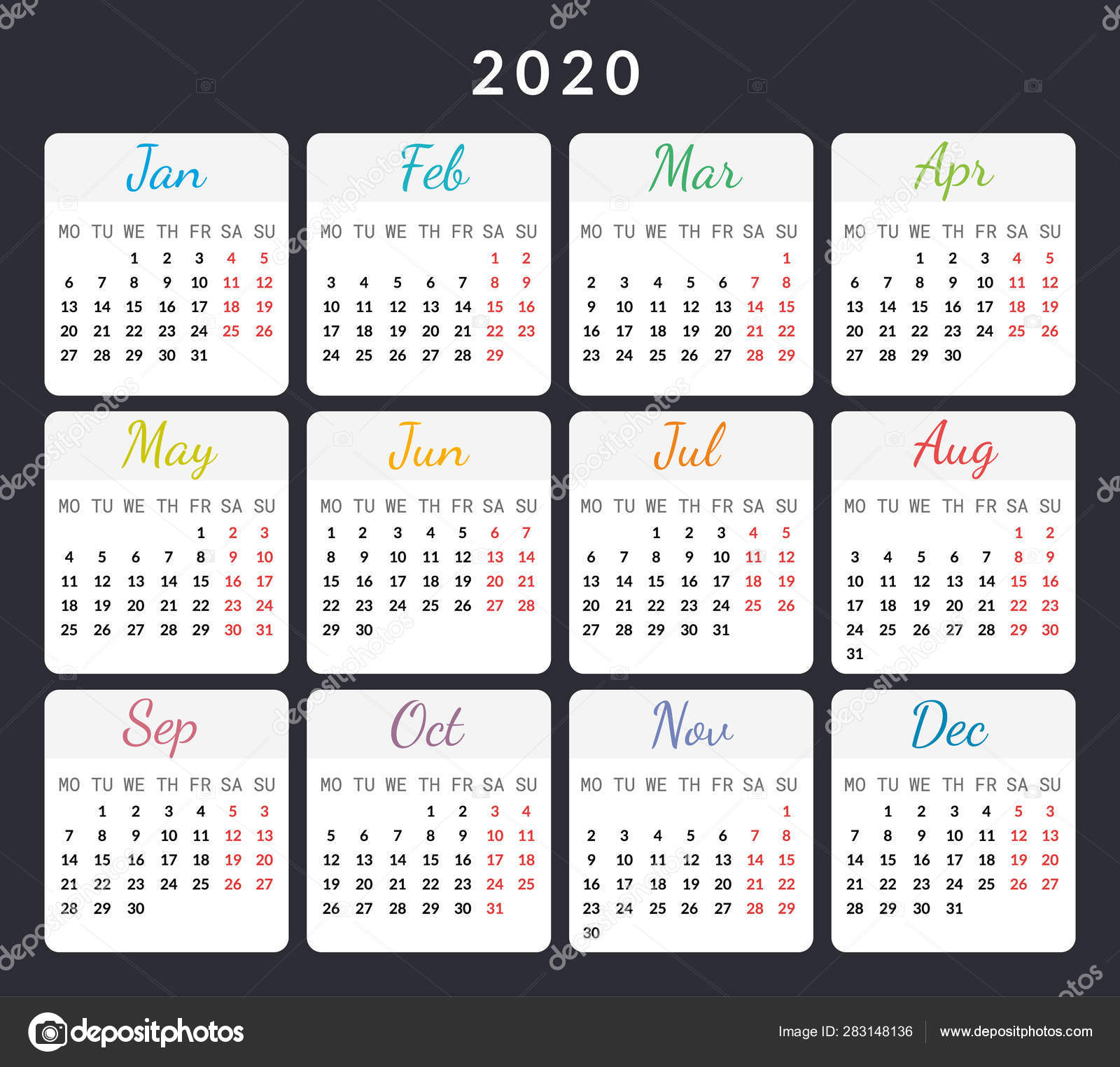 2020 Year Calendar Cards Isolated On Dark Background Vector pertaining to Calendar With Special Days 2020