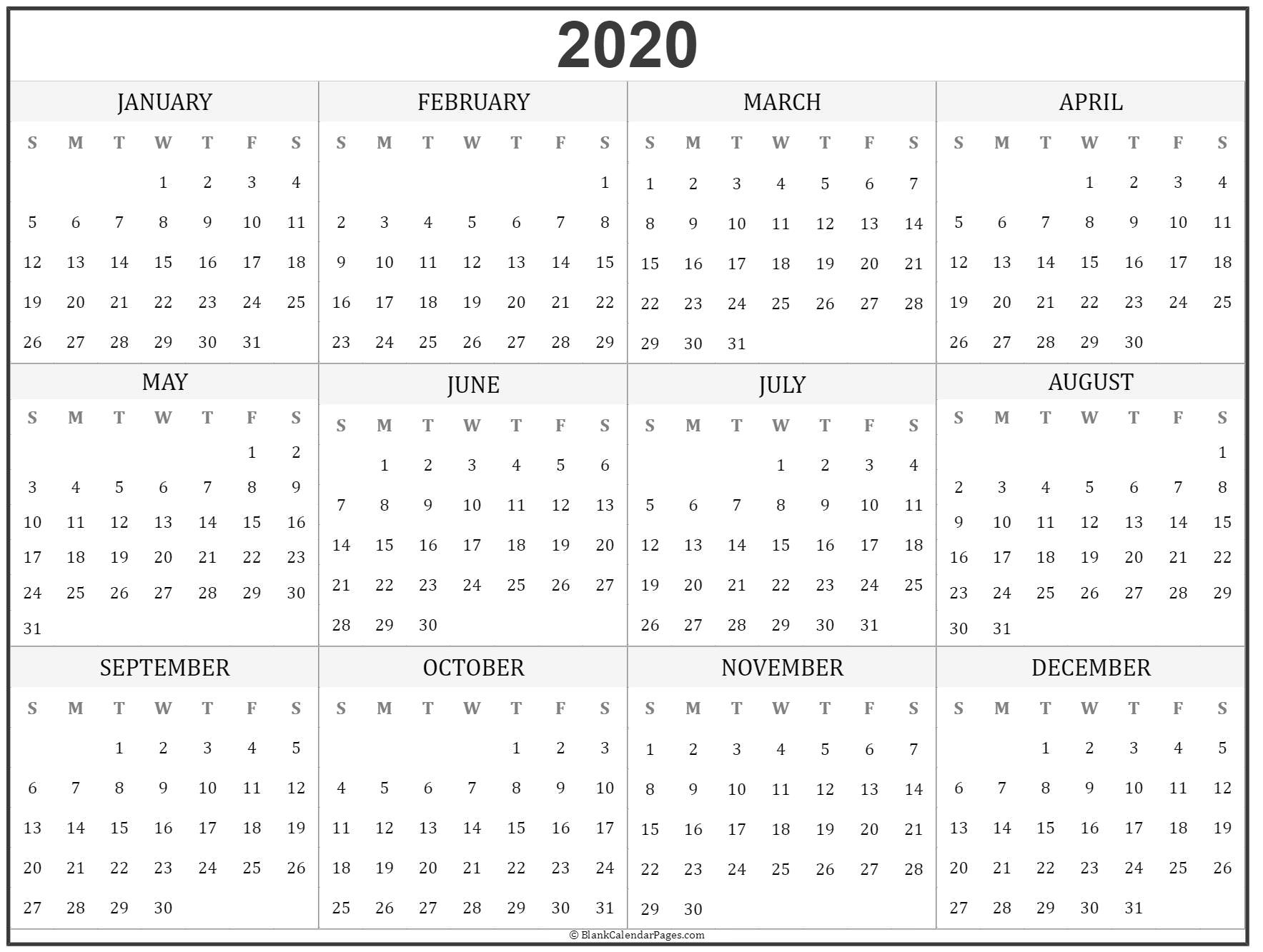 2020 Year Calendar | Yearly Printable regarding Yearly Calendar 2020 With Boxes