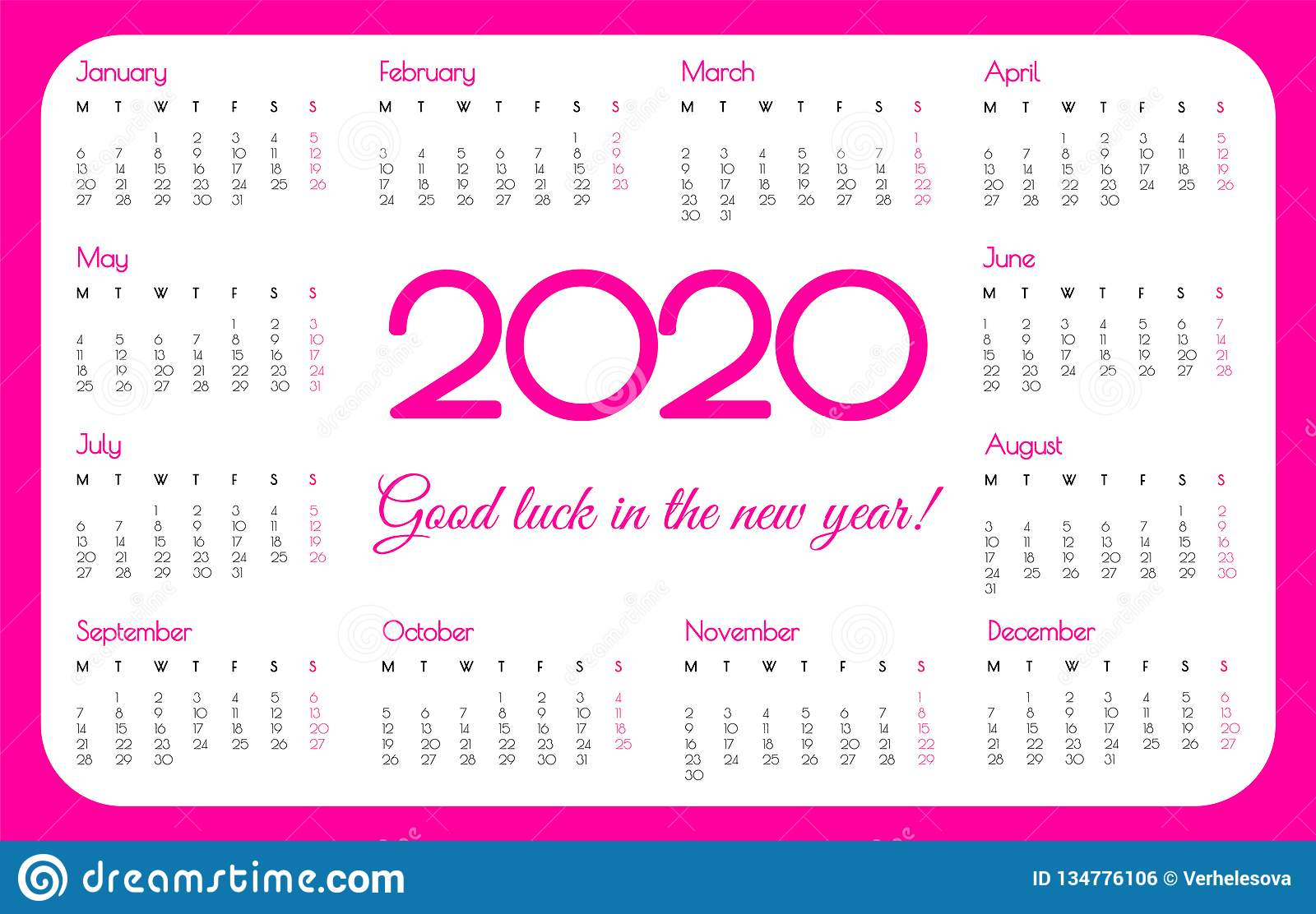 2020 Year Pocket Calendar. Pink Color, Simple Design. Week Starts On with regard to 2020 Printable Calendar With Sunday And Saturday Pink Color