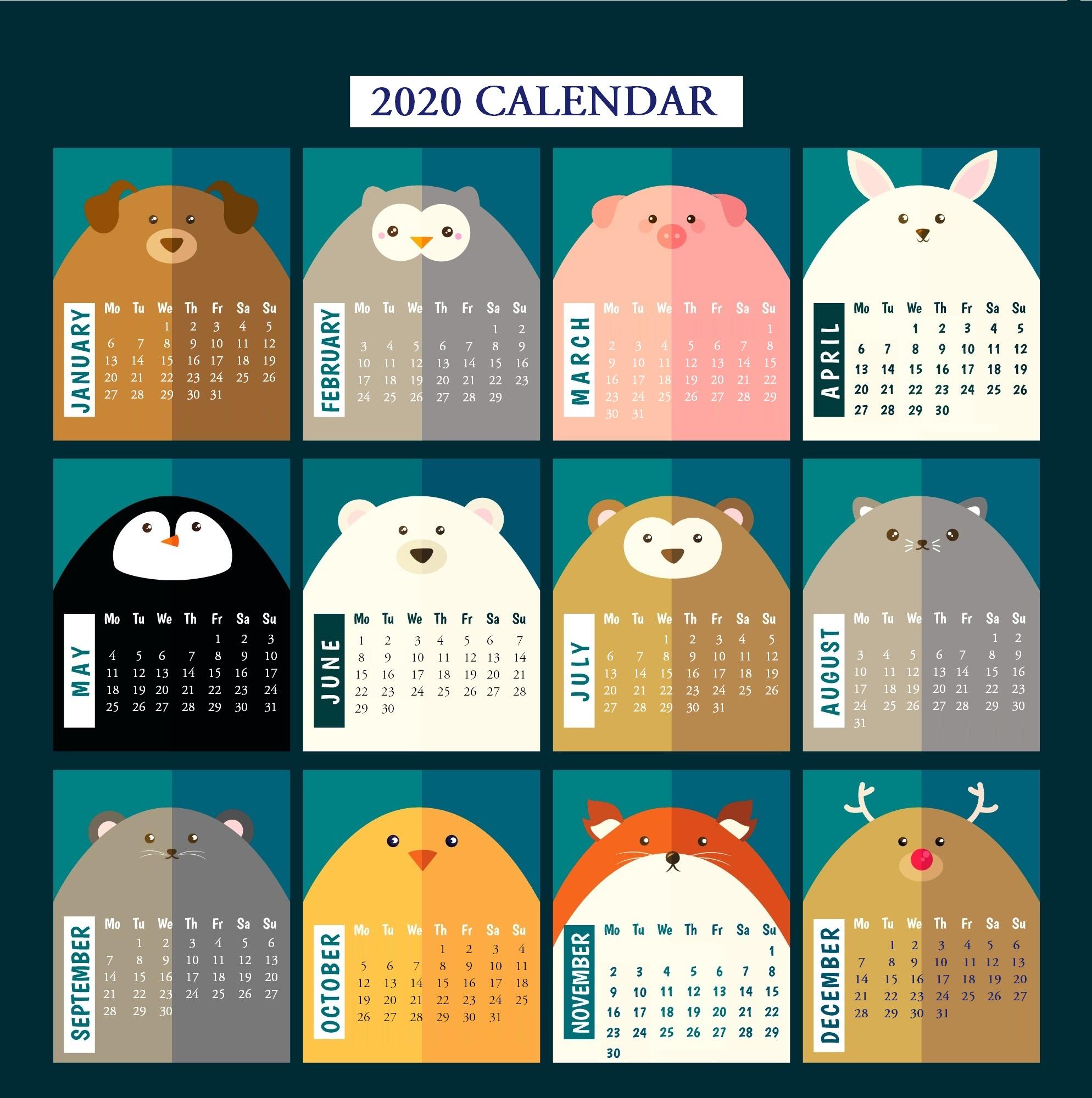 2020 Yearly Calendar Printable | Calendar 2020 regarding Cute Yearly Calendar Template