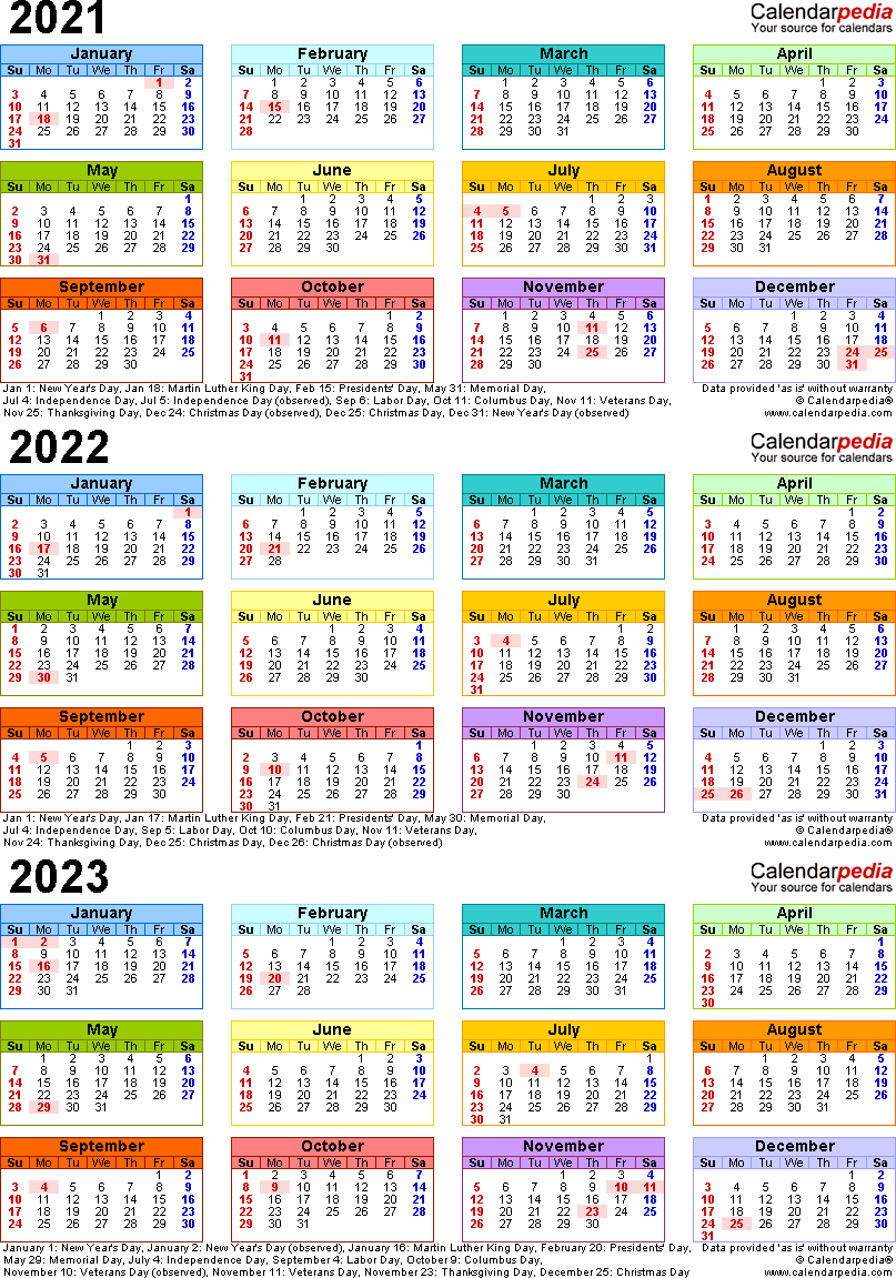 2021/2022/2023 Calendar - 4 Three-Year Printable Pdf Calendars for Free Prinable Calenders 2020 To 2023