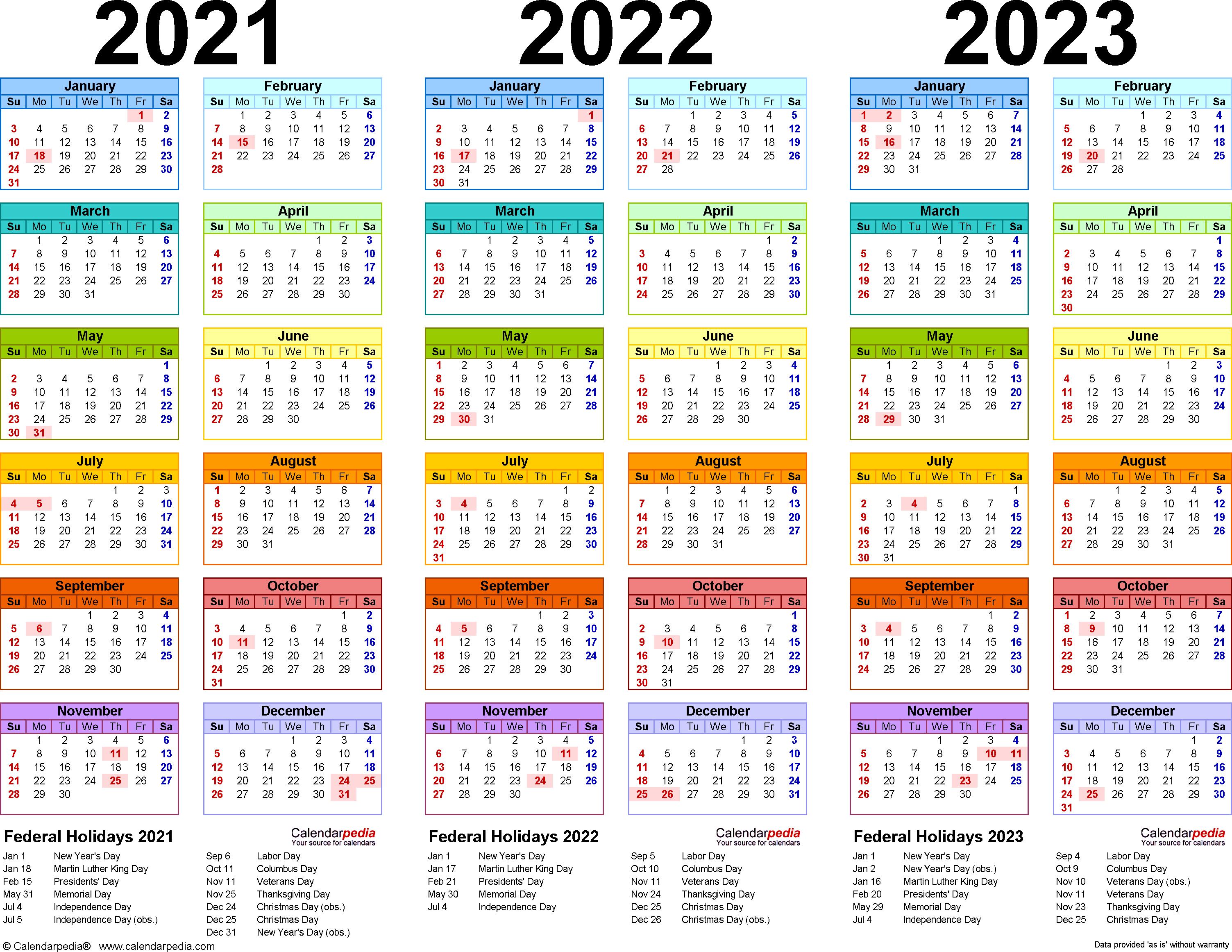 2021/2022/2023 Calendar - 4 Three-Year Printable Pdf Calendars within Free Prinable Calenders 2020 To 2023