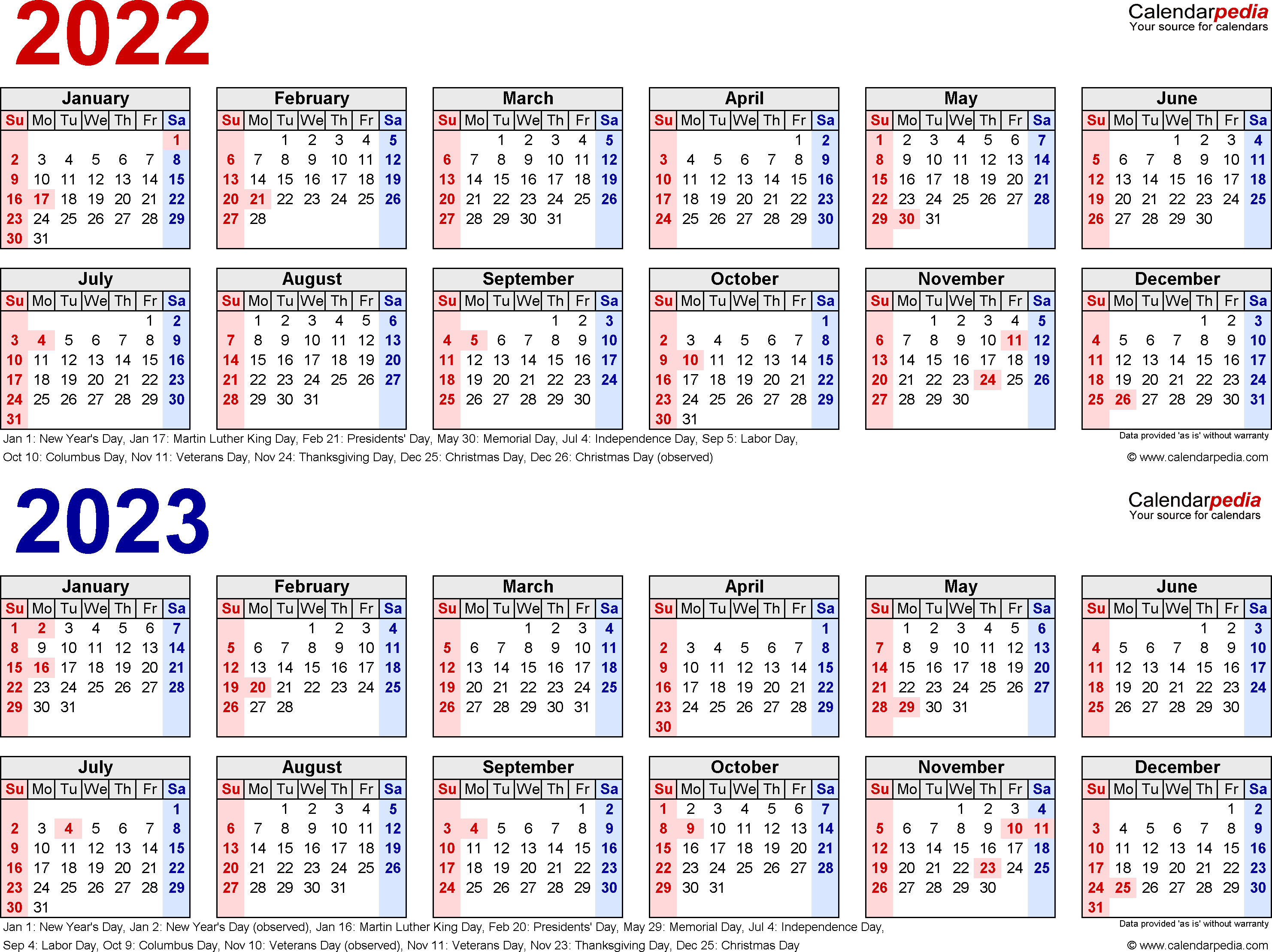 2022-2023 Calendar - Free Printable Two-Year Word Calendars with Blank Year Long Calendar 2022