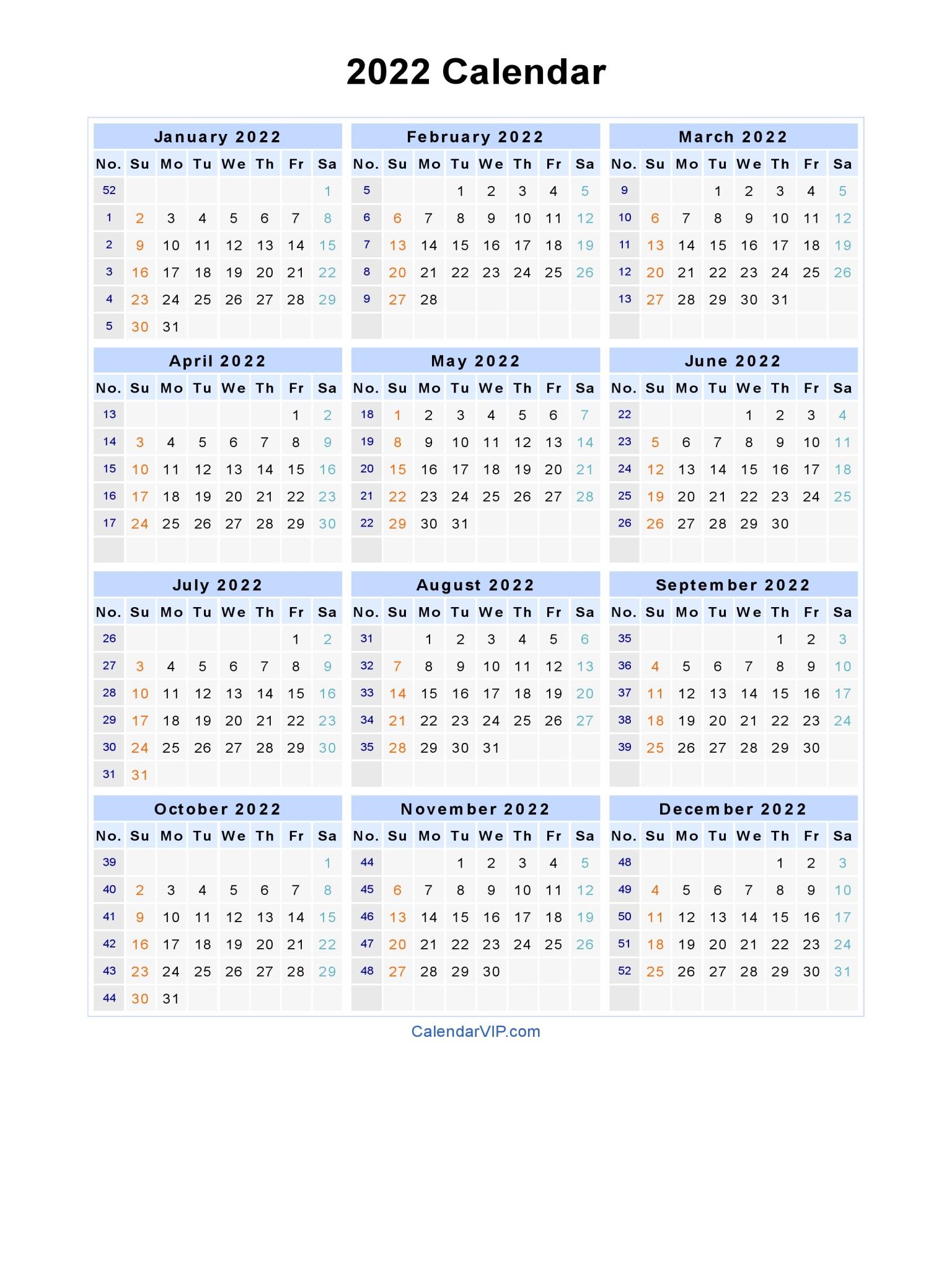 2022 Calendar - Blank Printable Calendar Template In Pdf Word Excel with regard to Blank Year Long Calendar 2022