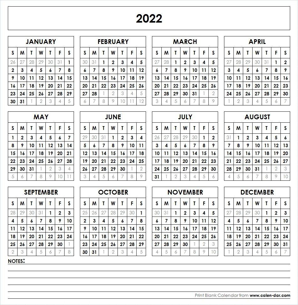 2022 Printable Calendar   Yearly Calendar   Printable Calendar with regard to Blank Year Long Calendar 2022