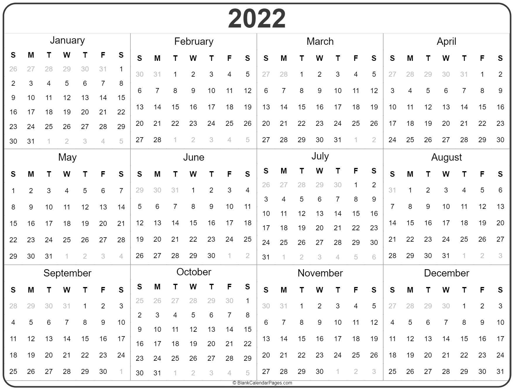 2022 Year Calendar   Yearly Printable for Blank Year Long Calendar 2022