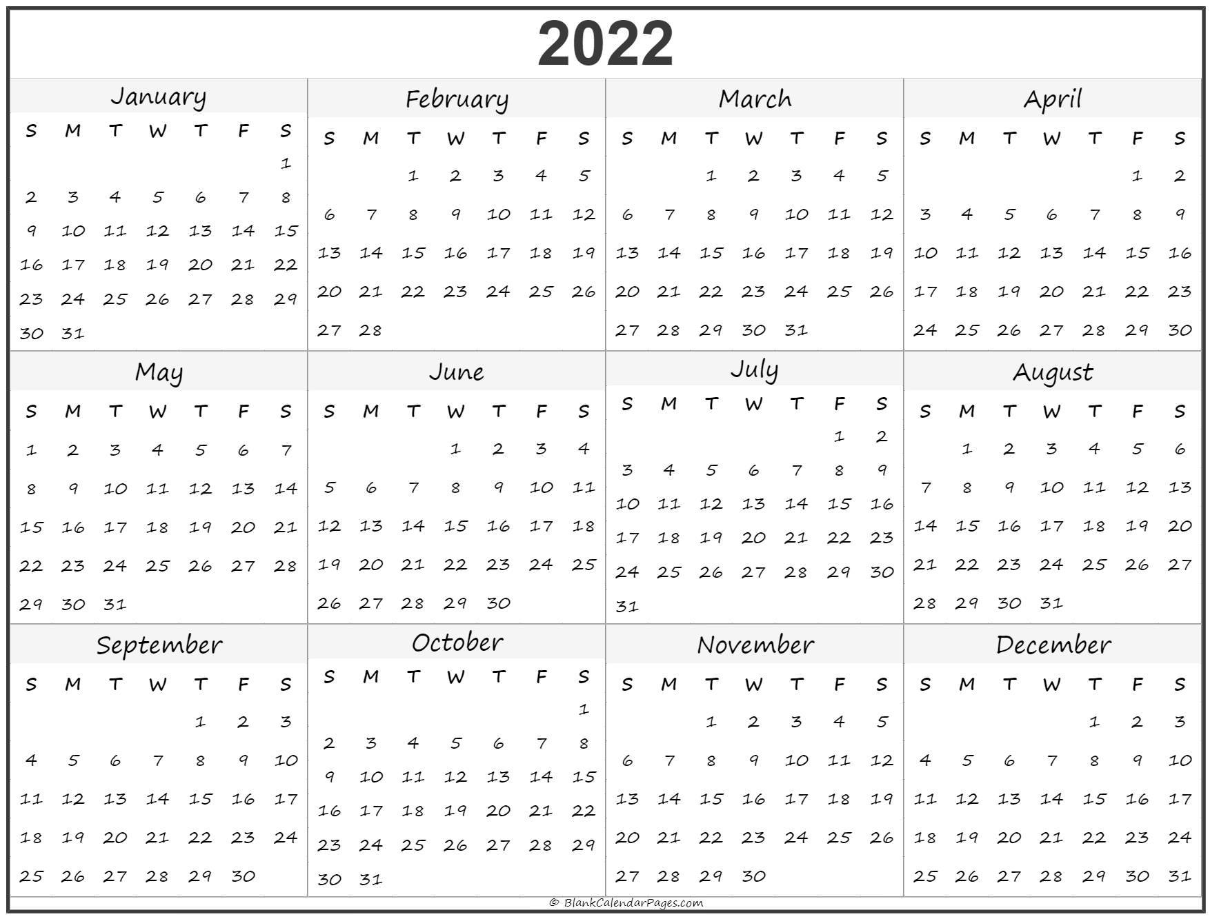 2022 Year Calendar   Yearly Printable regarding Blank Year Long Calendar 2022