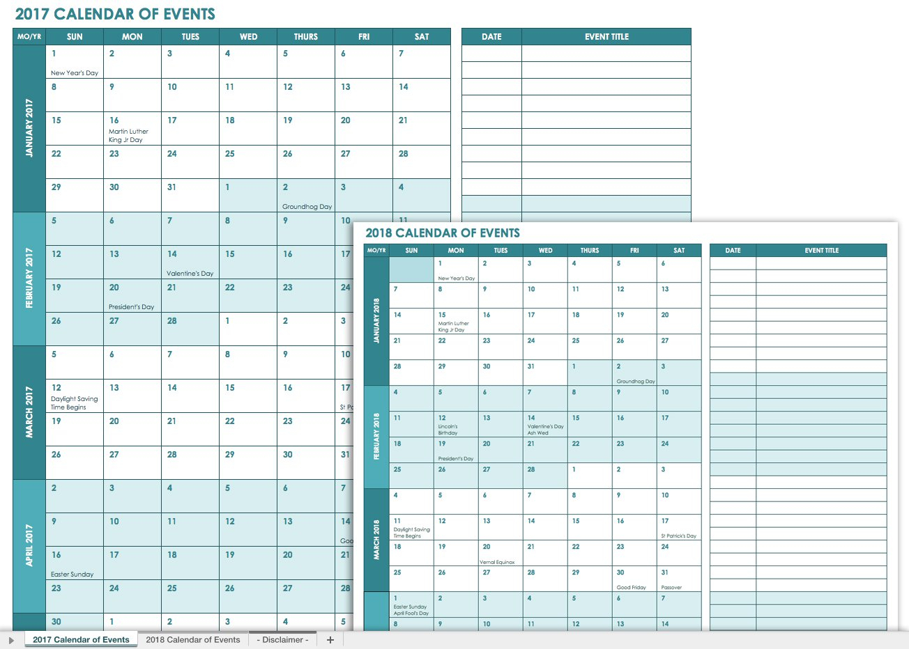 21 Free Event Planning Templates | Smartsheet with regard to Calendar Of Events Template Free