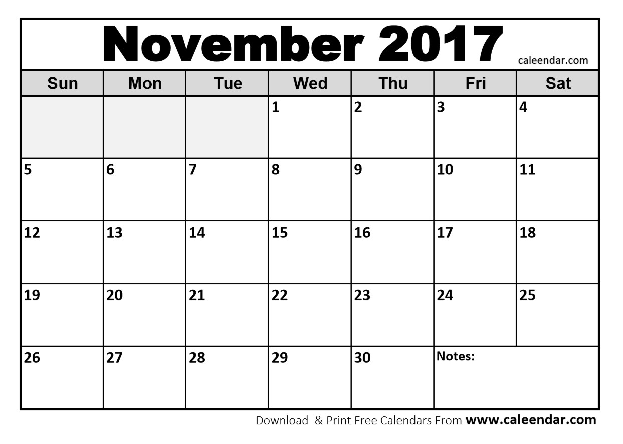25 Images Of Printable 2017 Monthly Calendar Template Nov | Jypsee in Monthly Calendar Template Novb