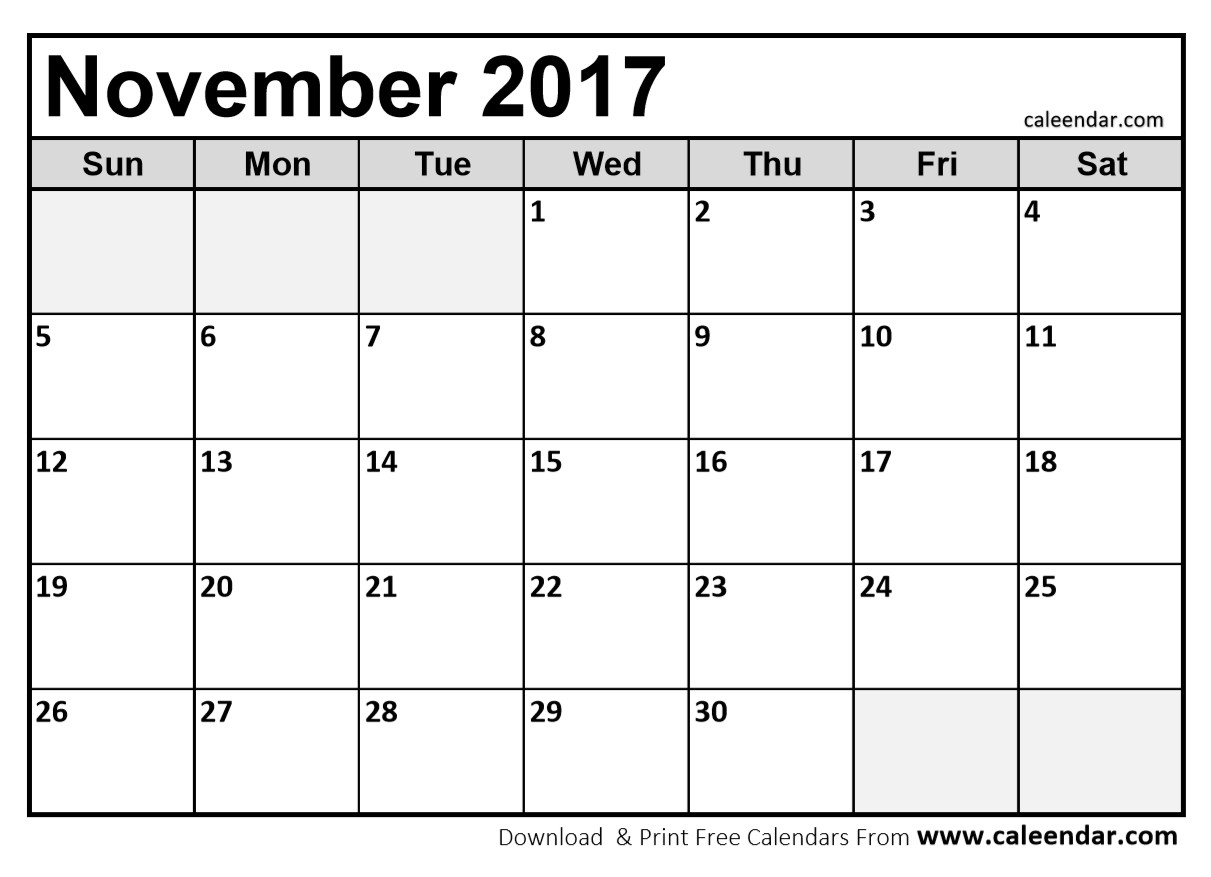 25 Images Of Printable 2017 Monthly Calendar Template Nov | Jypsee with Monthly Calendar Template Novb