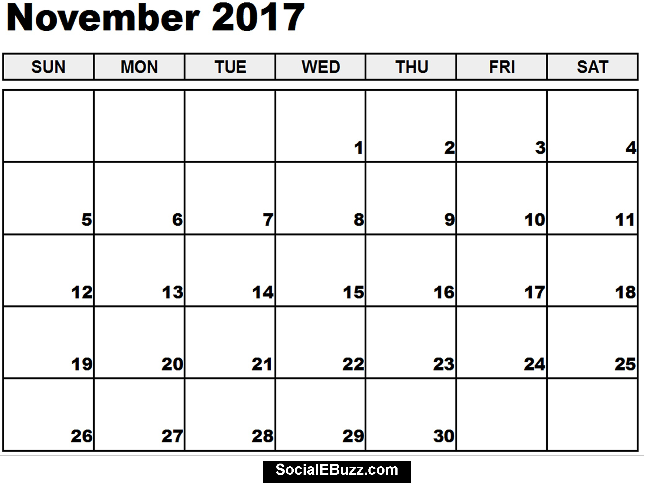 25 Images Of Printable 2017 Monthly Calendar Template Nov | Jypsee within Monthly Calendar Template Novb