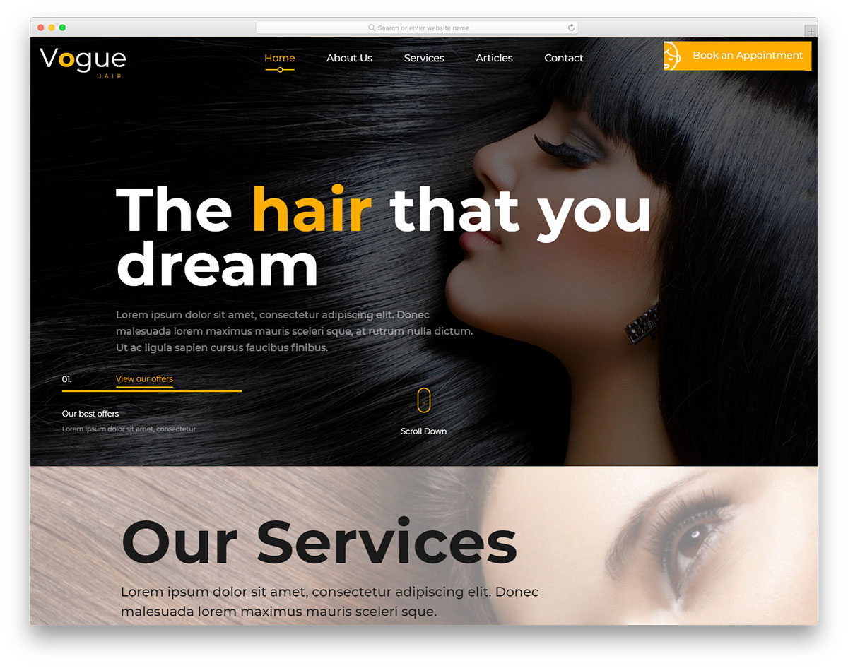28 Free Hair Salon Website Templates To Properly Groom Your Website intended for Hair Appointment Schedule Template