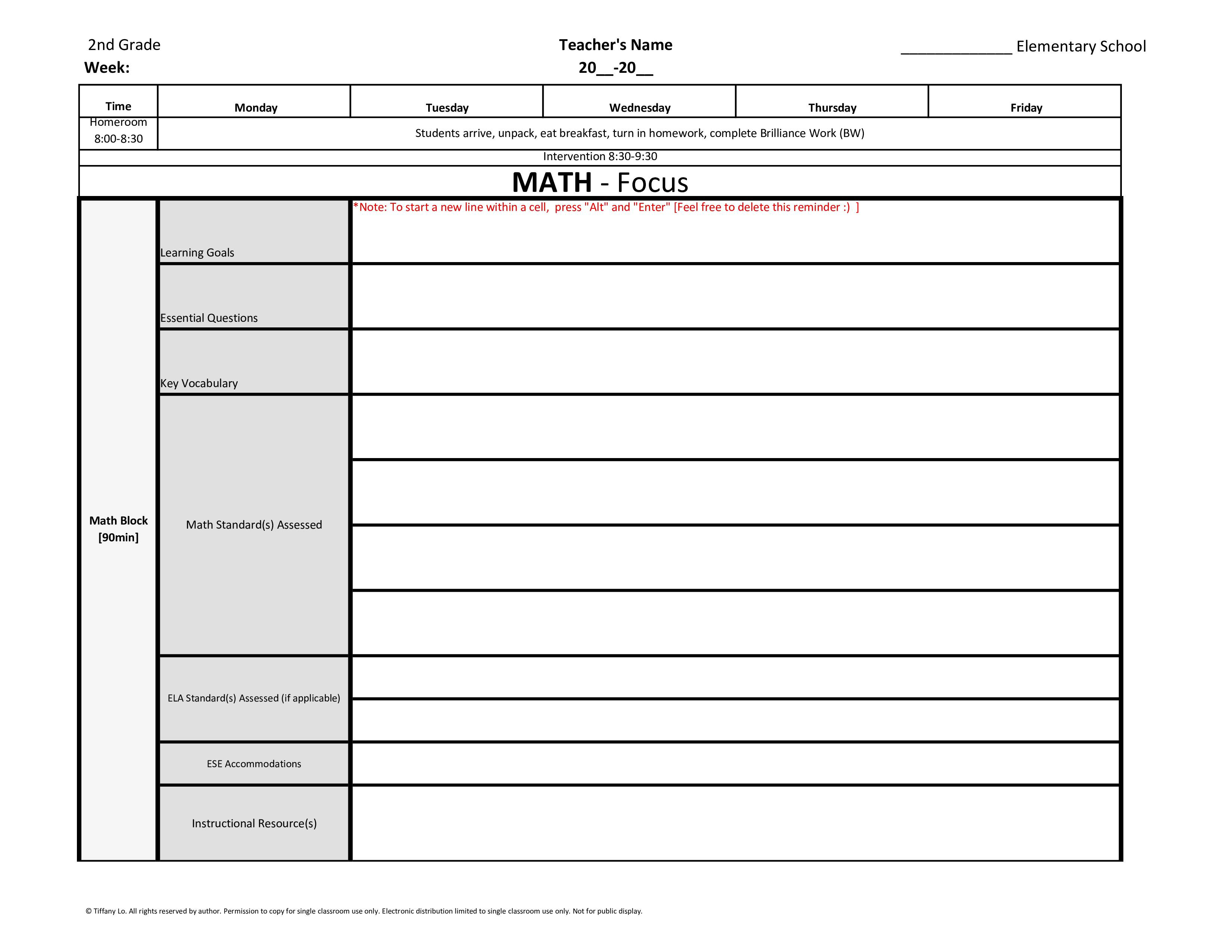 2Nd Second Grade Common Core Weekly Lesson Plan Template W/ Drop Down Lists with Tutoring Template To Fill Out Weekly