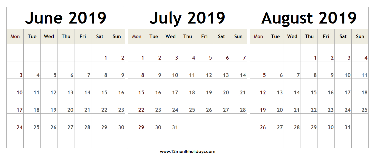 3 Month Calendar 2019 June July August | 2019 Year Template in Blank Calendar June July August