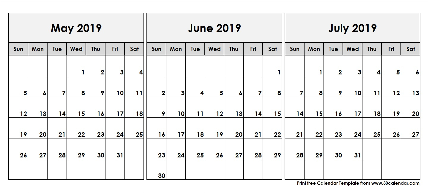 3 Month Calendar May June July 2019 - Free Printable Calendar, Blank within Printable 3 Month One Page April May June Calendar Template