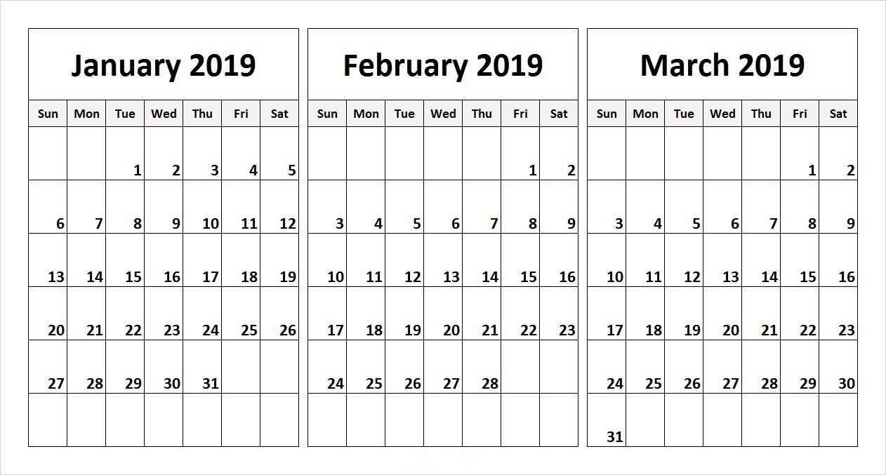 3 Month Calendar Template 2019 | Calendar Design Ideas within Free Printable 3 Month Calendar Template
