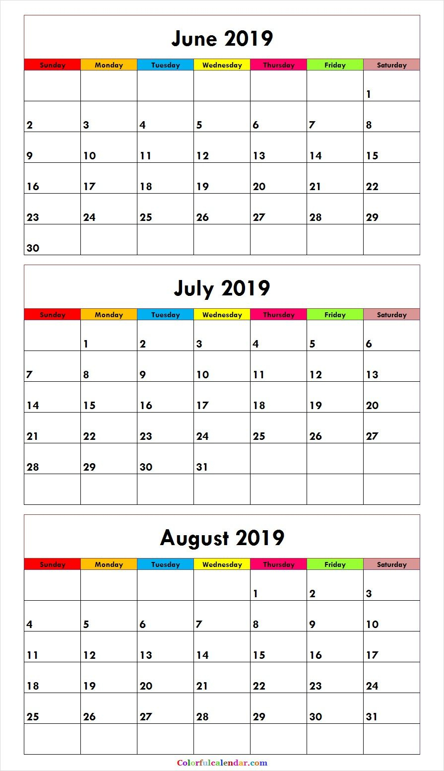 3 Month June July August 2019 Calendar Green | Misc. Stuff | August within Blank August Colorful Calendar