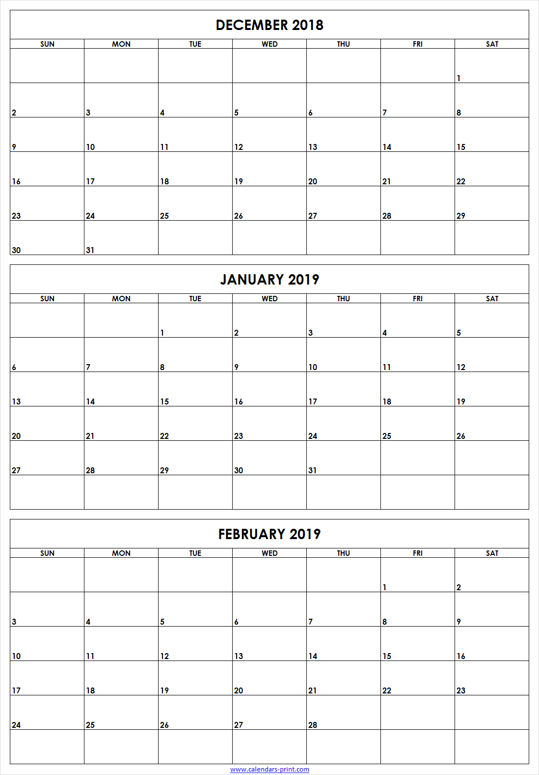 3 Monthly December 2018 January February 2019 Calendar | Editable with Free Printable 3 Month Calendar Template