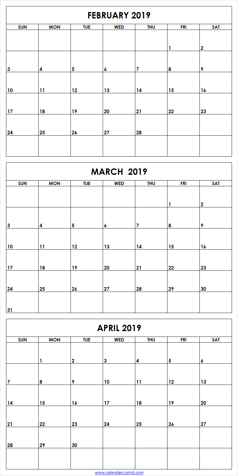 3 Monthly February March April 2019 Calendar | Editable Template with Blank 3 Month Calendar Template