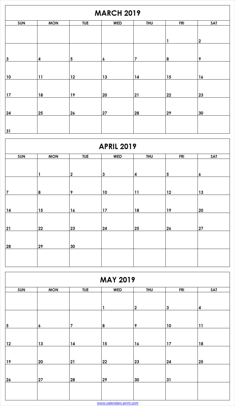 3 Monthly March April May 2019 Calendar | Editable Template intended for 3 Month Editable Calendar Template Printable