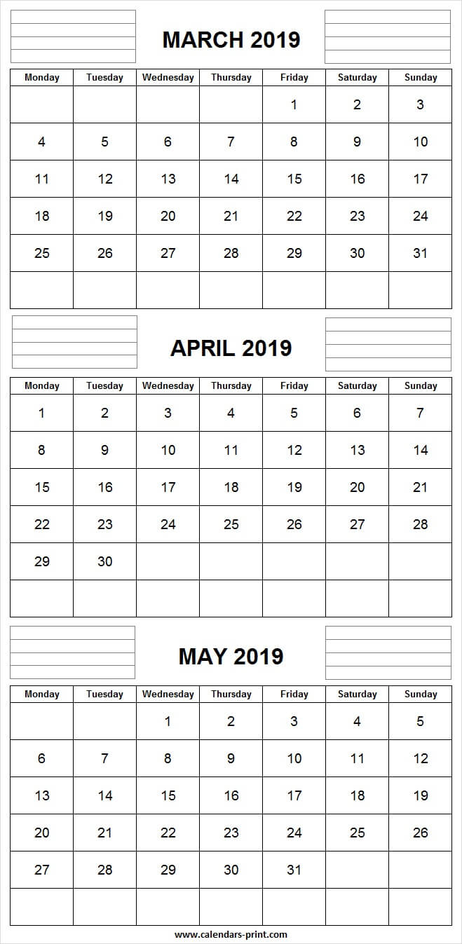 3 Monthly March April May Calendar 2019 | Editable Template with Printable 3 Month One Page April May June Calendar Template