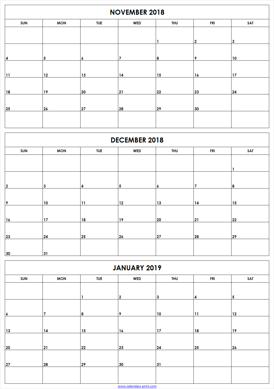 3 Monthly November December 2018 January 2019 Calendar | Editable with Printable 3 Month Calendar Template